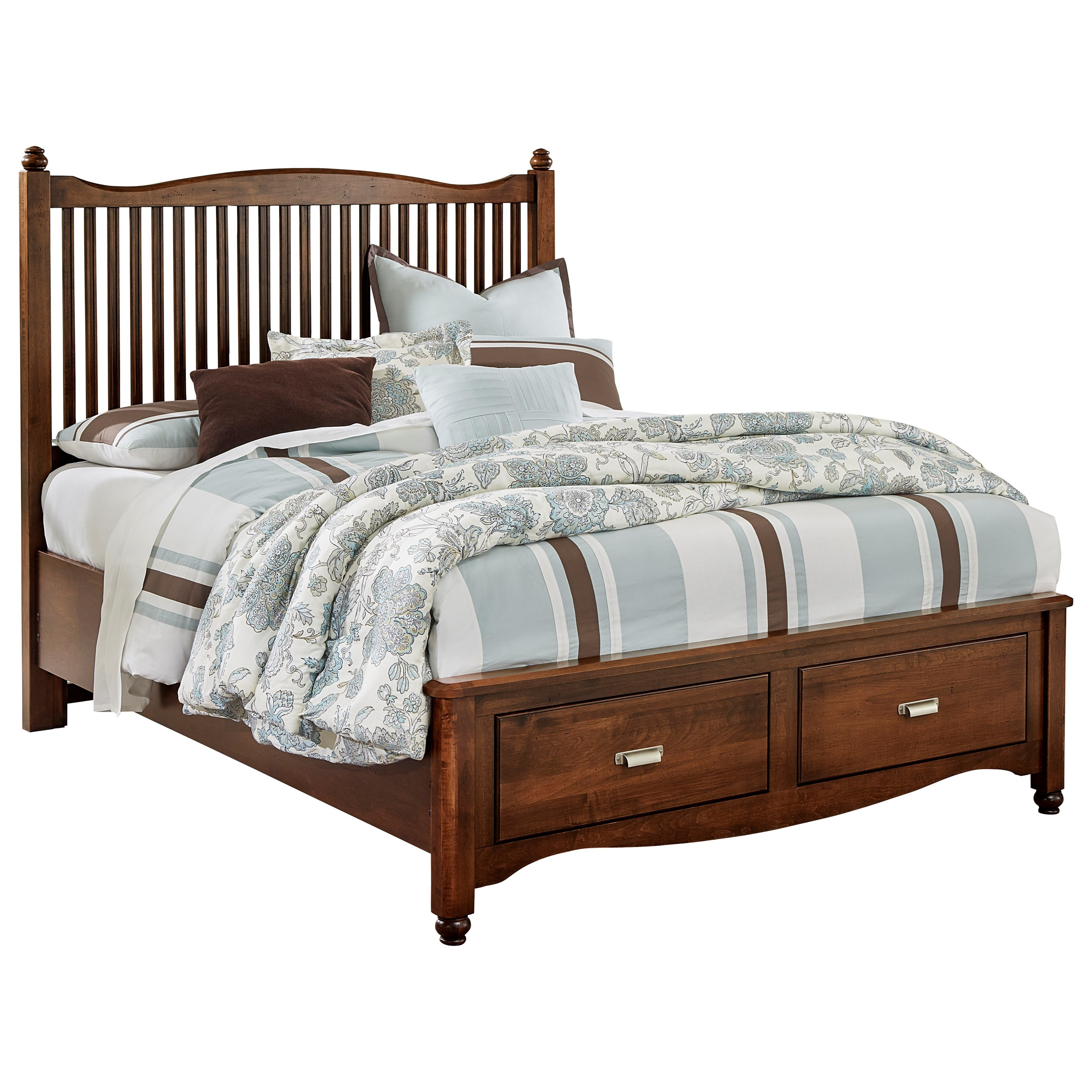 Vaughan Bassett American Maple Solid Wood Queen Slat Storage Bed Dunk Bright Furniture