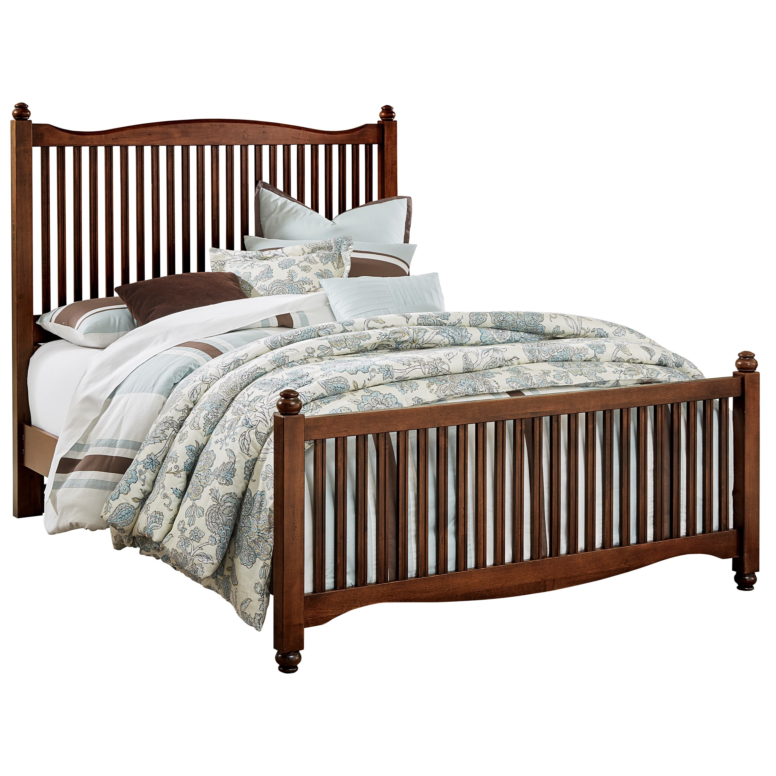 Vaughan Bassett American Maple Solid Wood Queen Slat Bed Dunk Bright Furniture Panel Beds