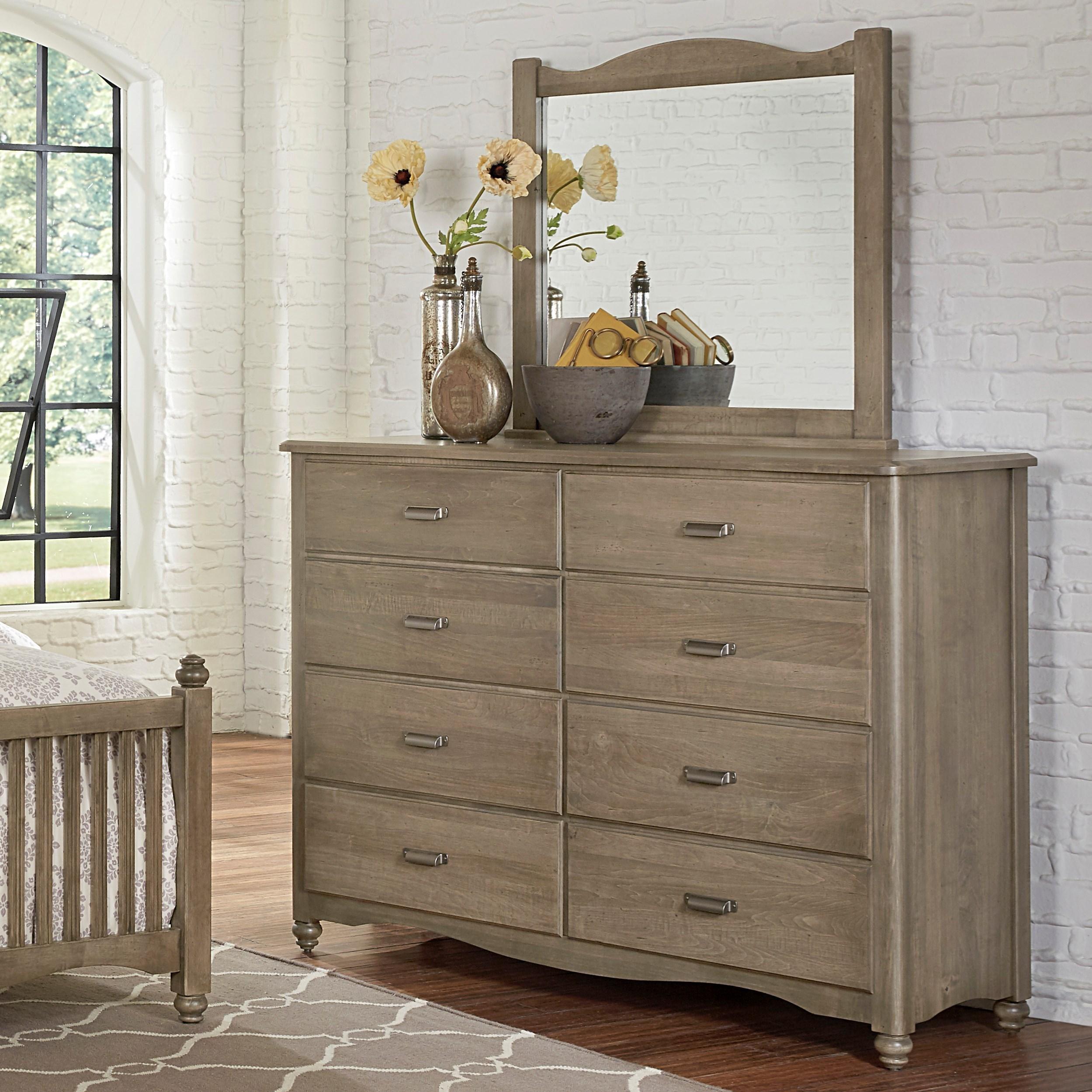 Vaughan bassett american maple solid wood bureau landscape mirror lapeer furniture for Solid maple bedroom furniture
