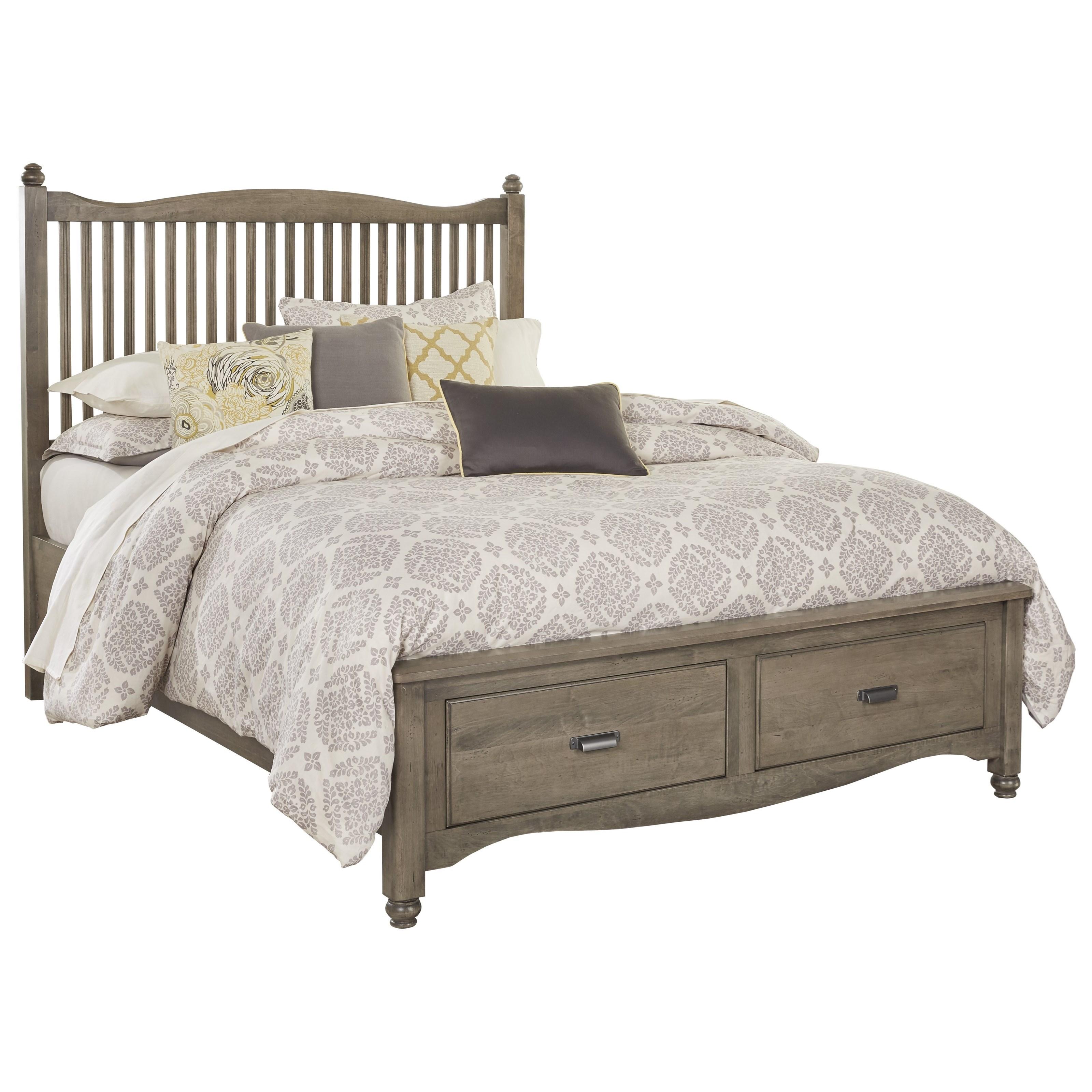 vaughan bassett american maple solid wood queen slat storage bed dunk bright furniture. Black Bedroom Furniture Sets. Home Design Ideas