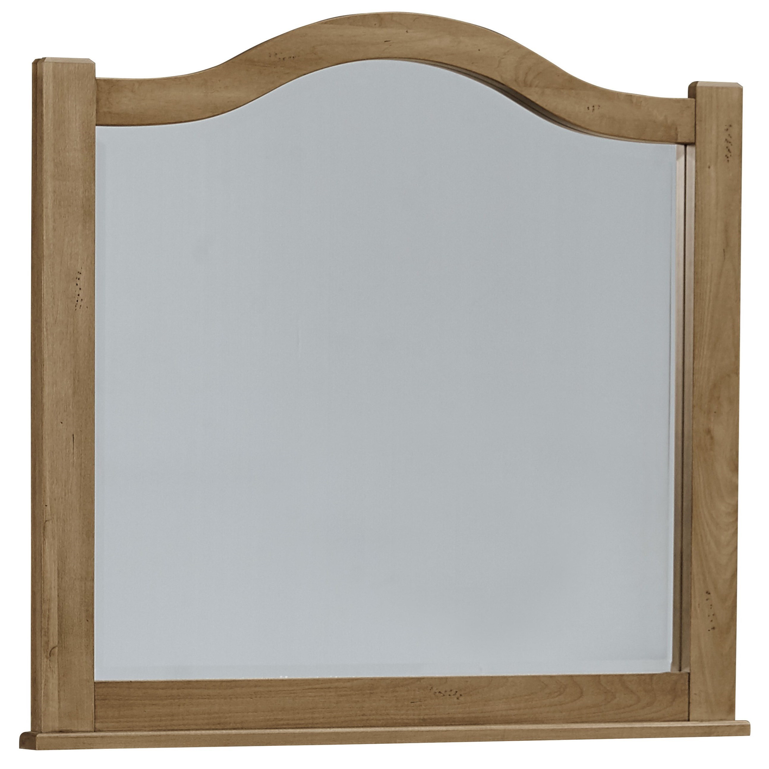 Vaughan bassett american maple arched mirror beveled for Beveled glass mirror