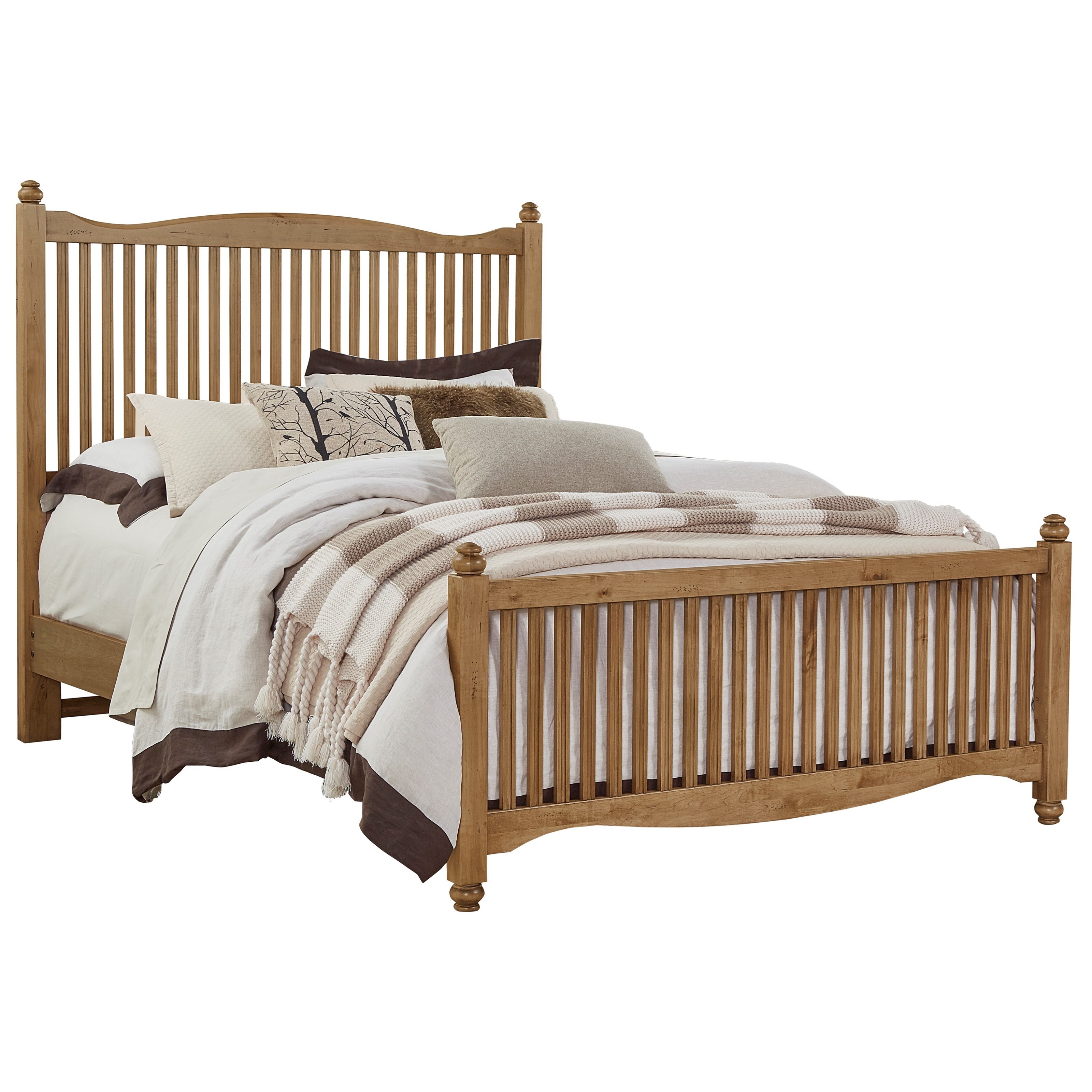 Vaughan Bassett American Maple Solid Wood Queen Slat Bed Johnny Janosik Panel Beds