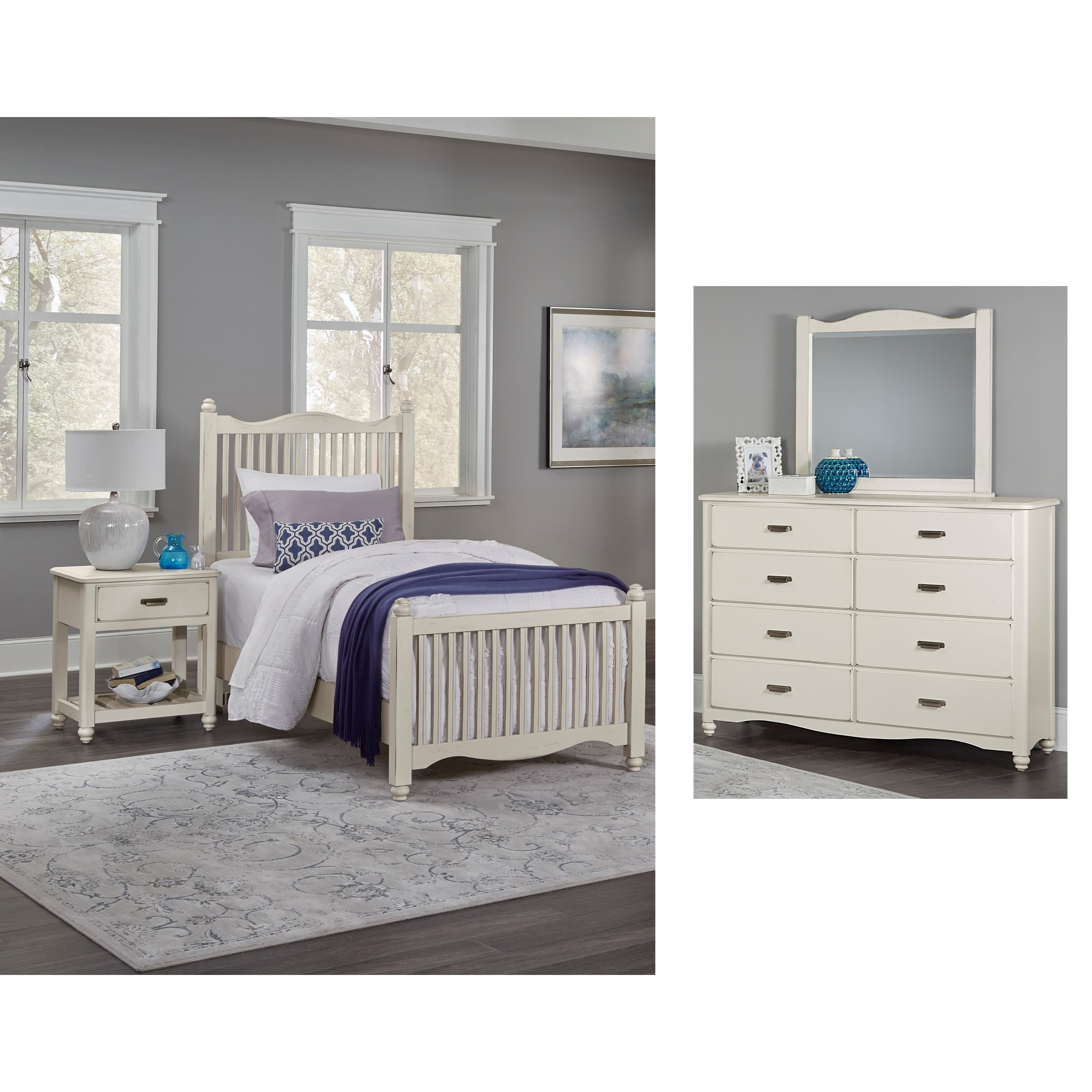 Vaughan bassett american maple twin bedroom group value for Bedroom furniture groups