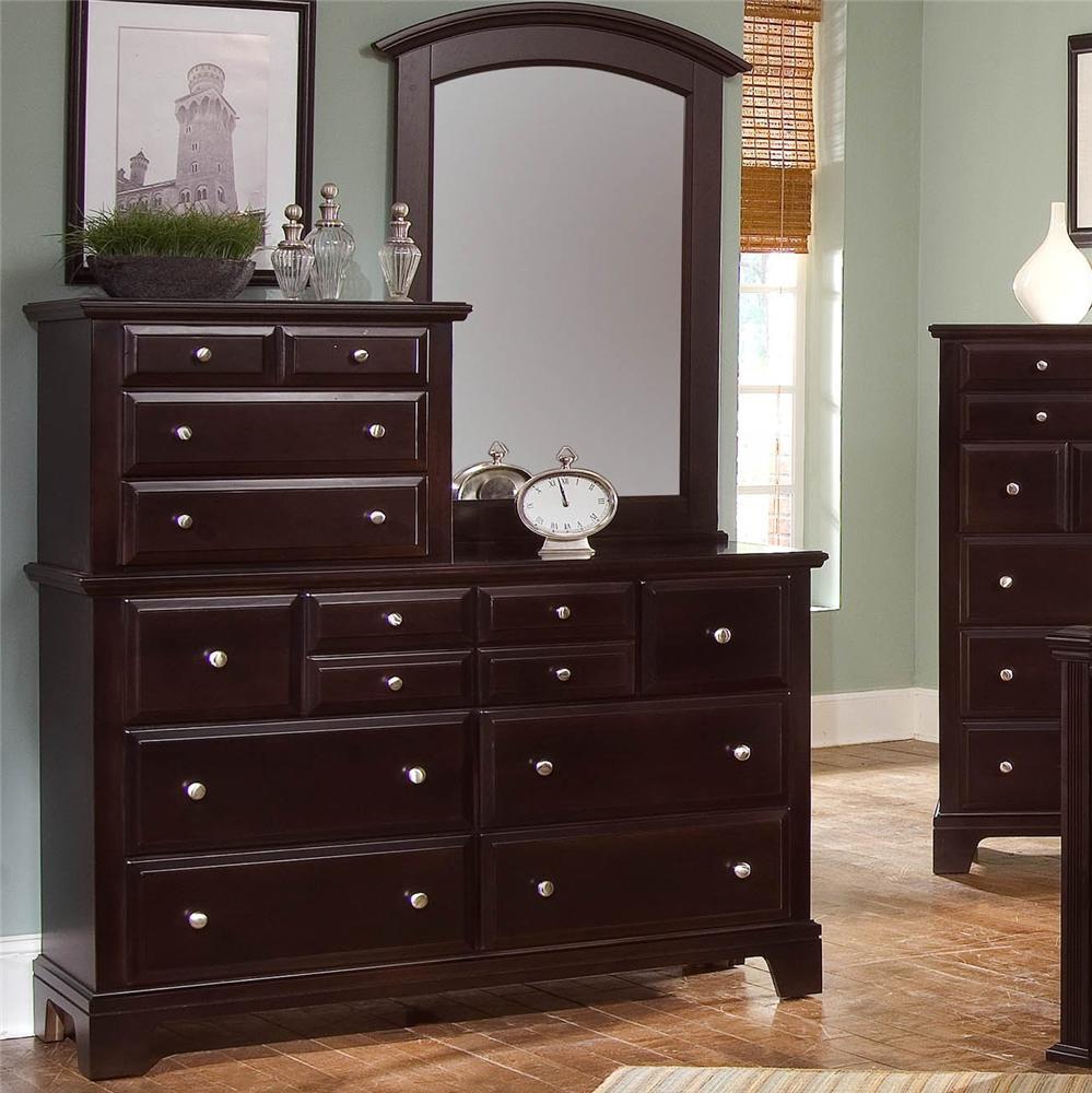 vaughan bassett hamilton 10 drawer dresser with vertical mirror belfort furniture dresser. Black Bedroom Furniture Sets. Home Design Ideas