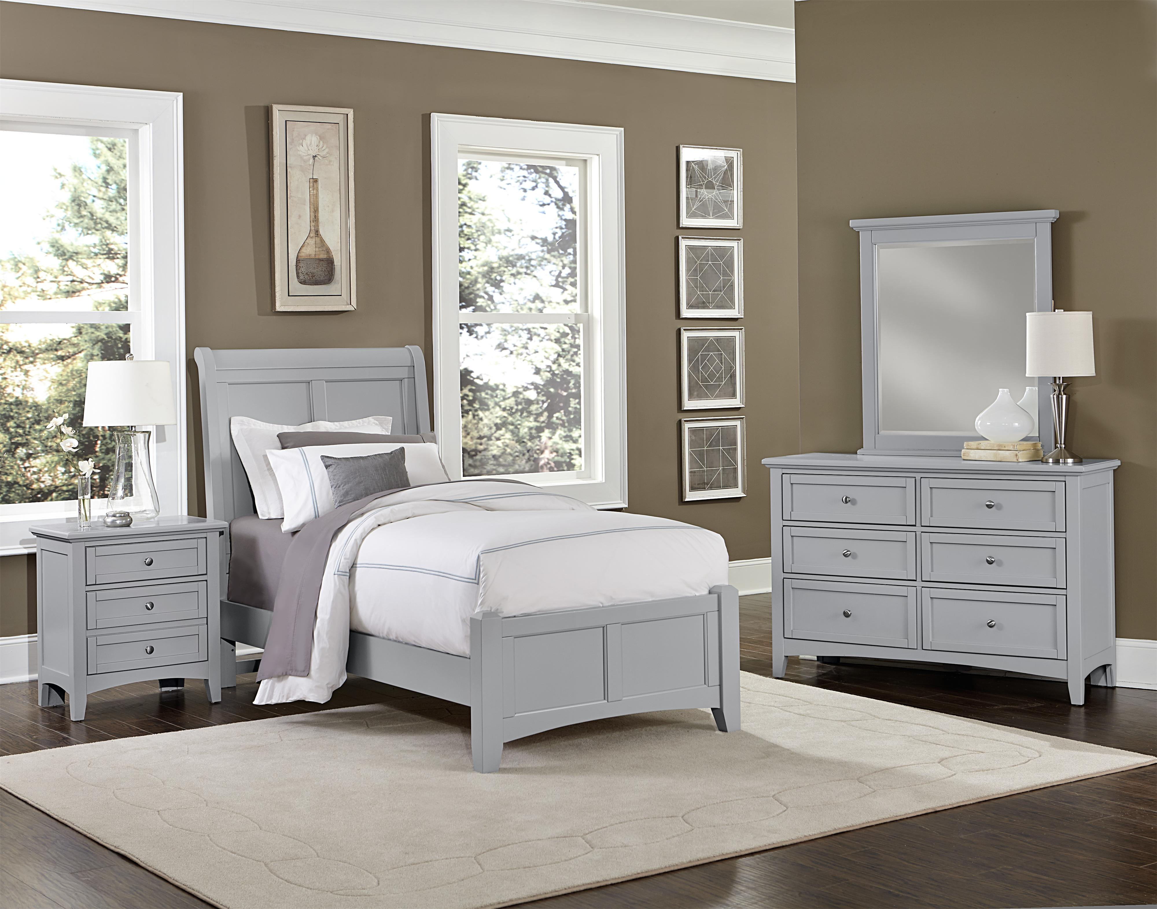 vaughan bassett bonanza twin sleigh bed with low profile footboard knight furniture mattress. Black Bedroom Furniture Sets. Home Design Ideas