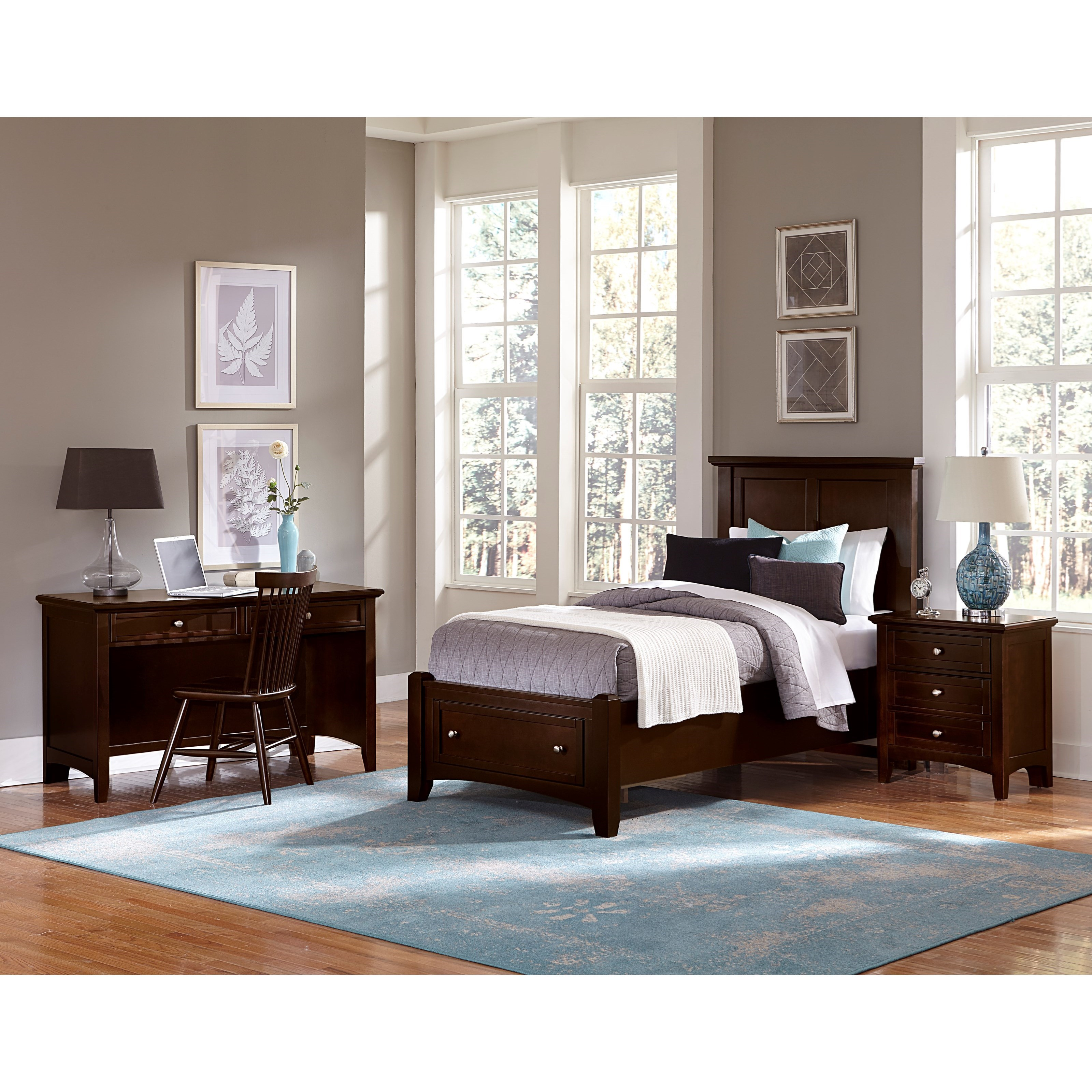 Vaughan bassett bonanza twin bedroom group dunk bright for Bedroom furniture groups