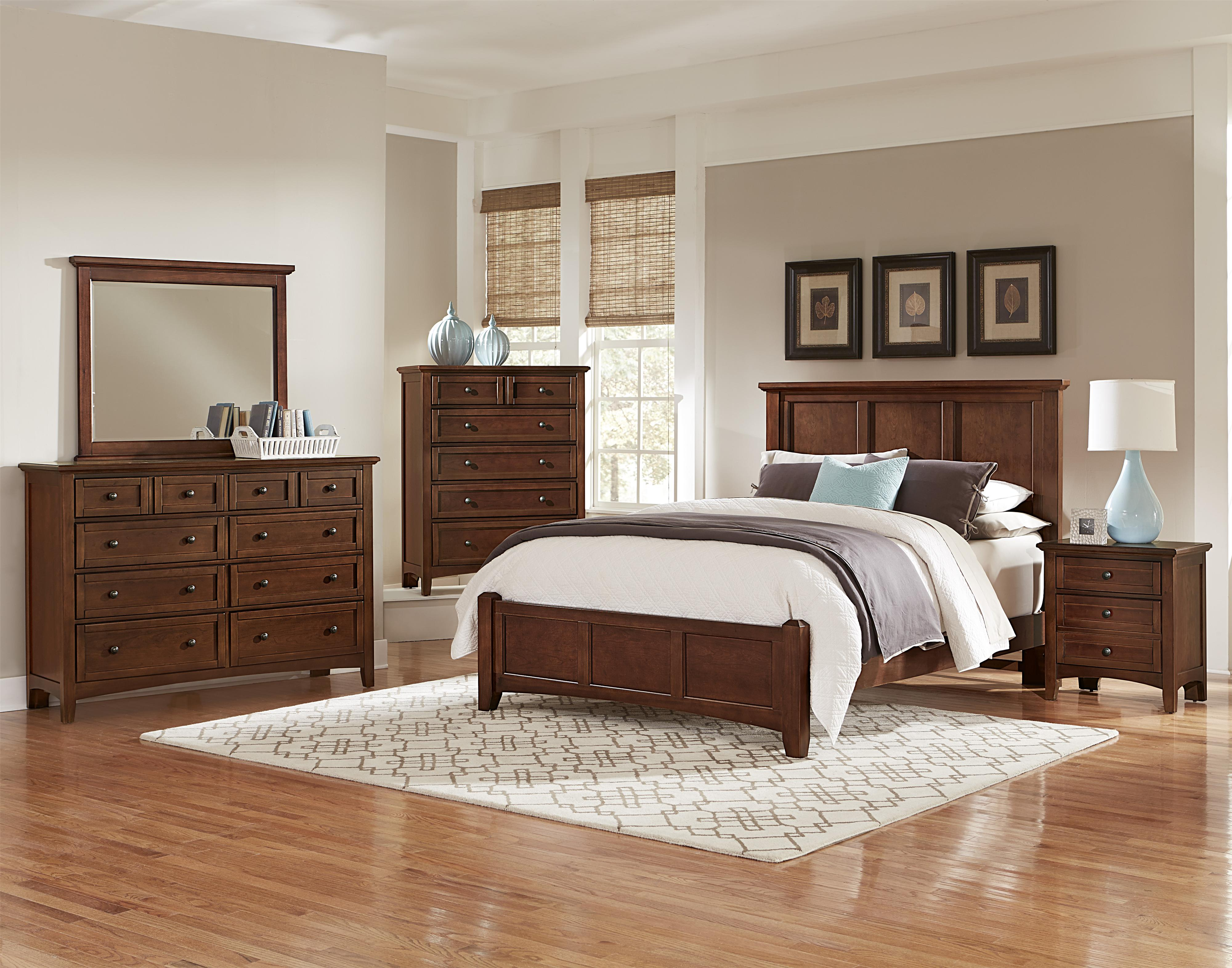 Vaughan bassett bonanza california king mansion bed with for Bassett bedroom furniture