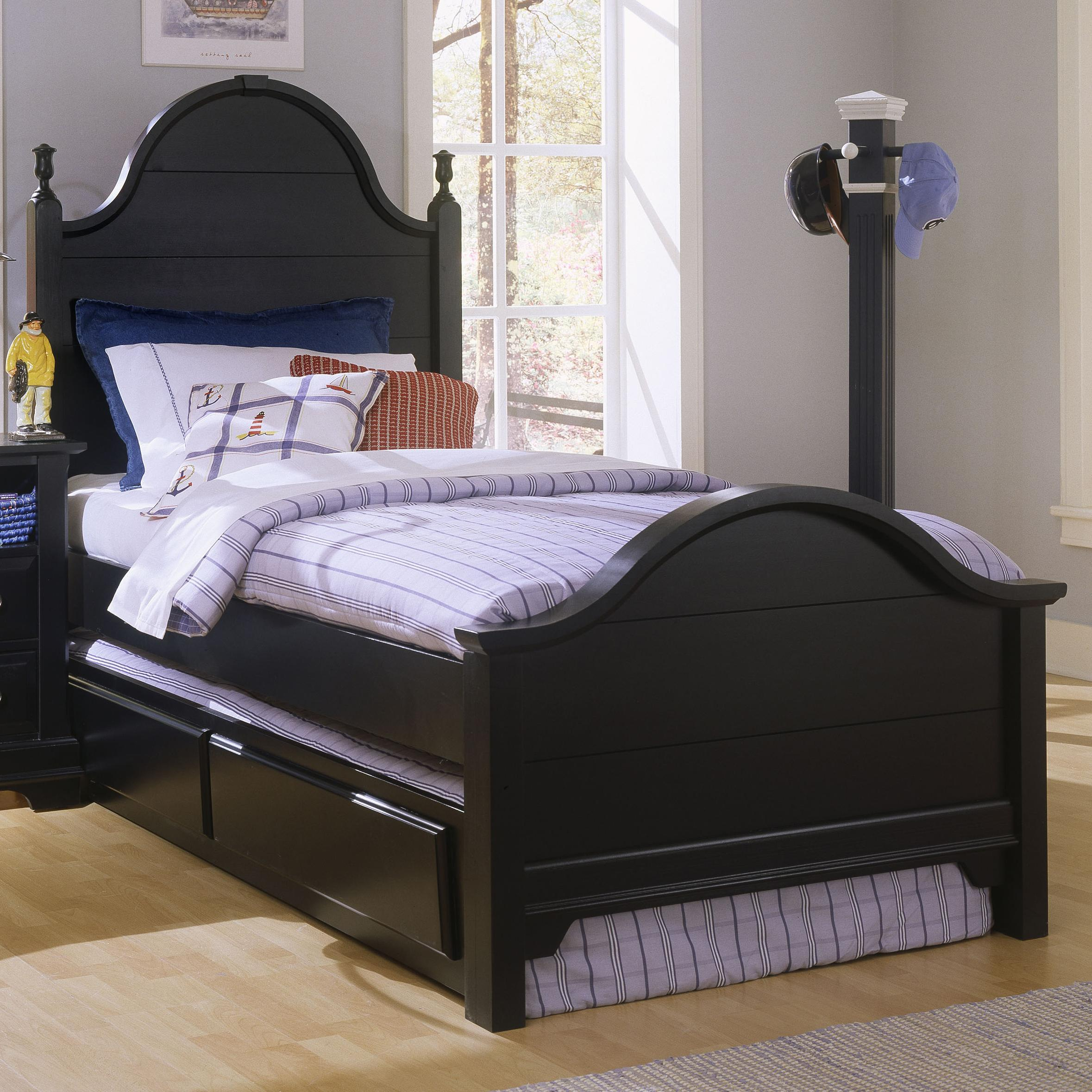 Vaughan bassett cottage twin panel bed with trundle for Panel bed mattress