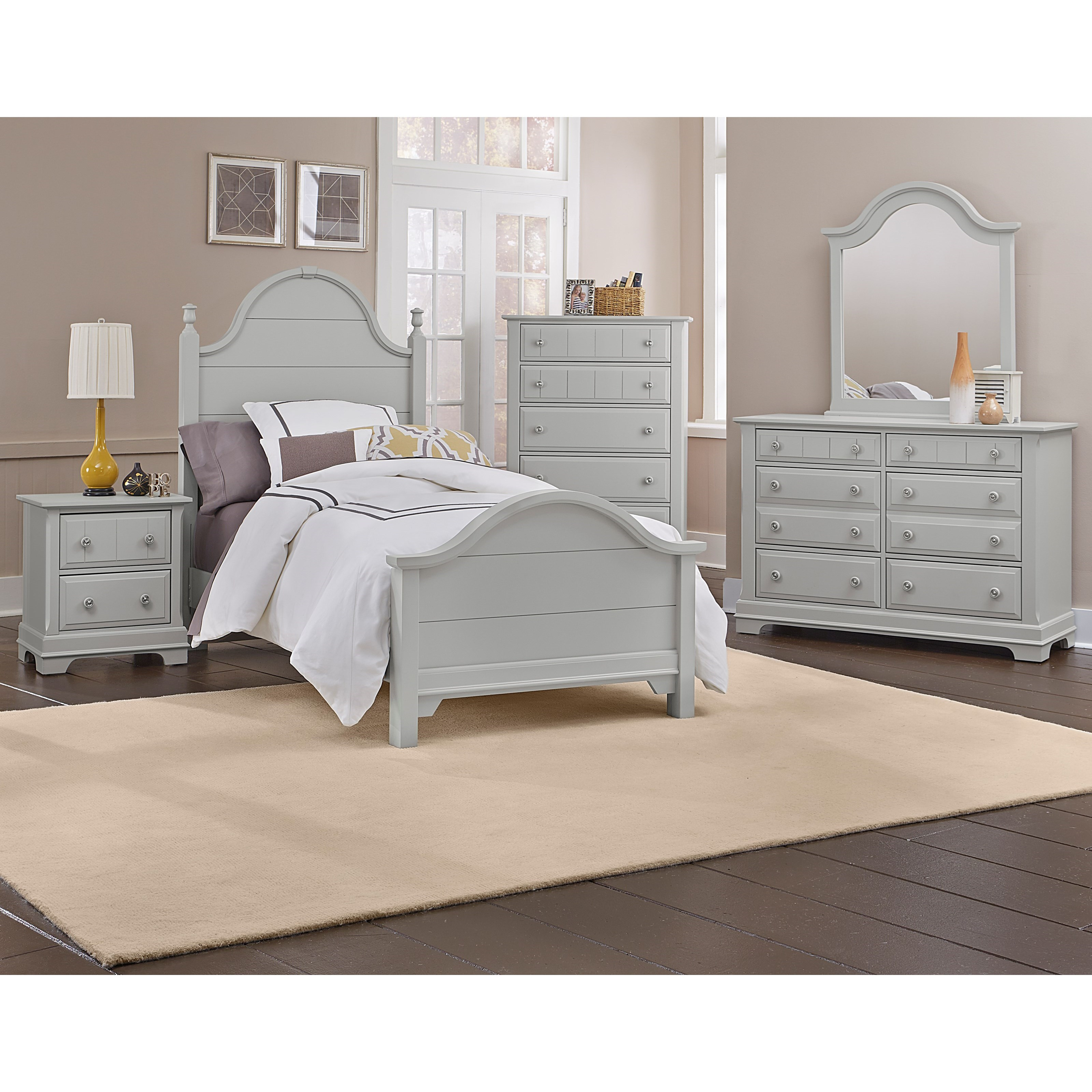 Vaughan bassett cottage king bedroom group dunk bright - Bright house bedroom furniture ...
