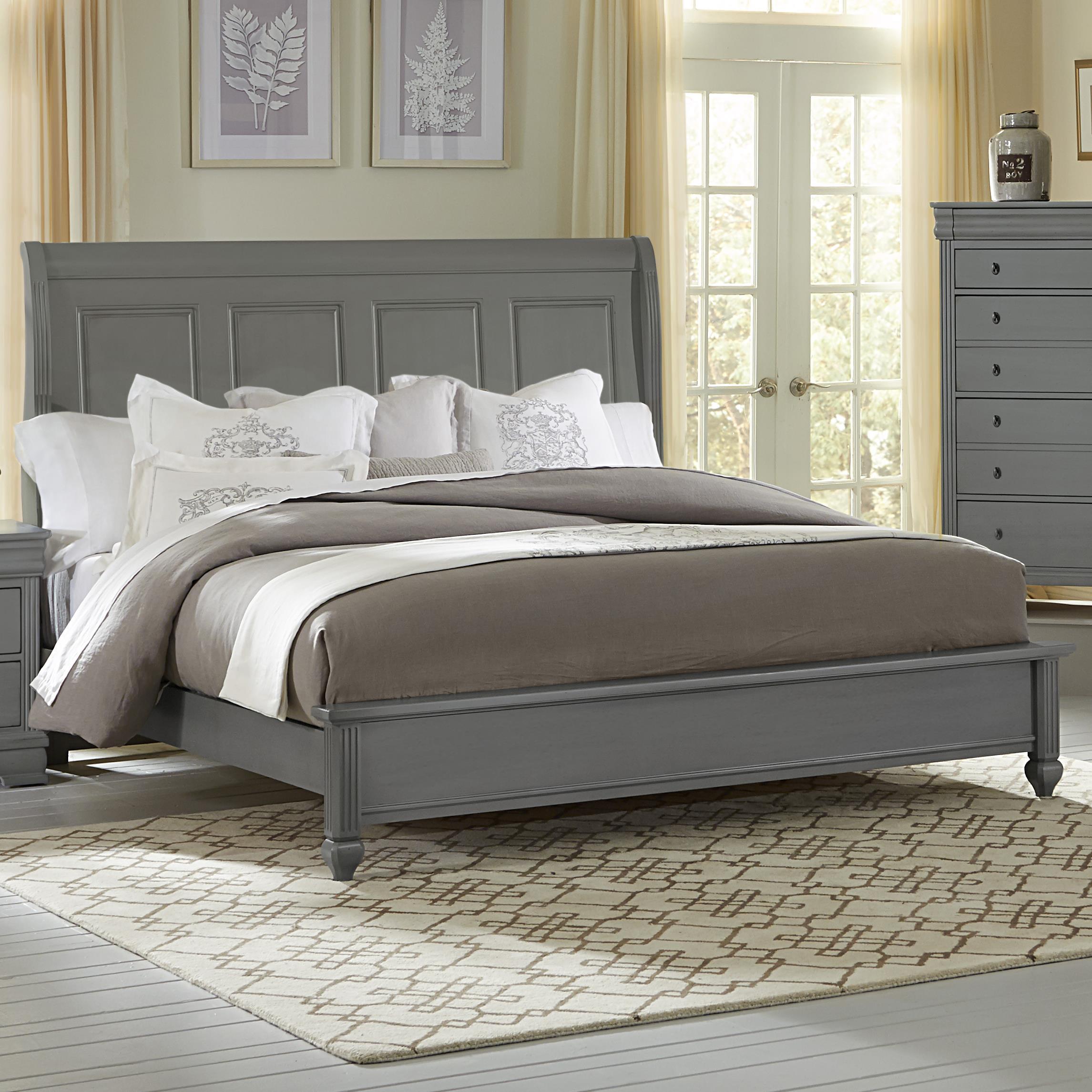 Vaughan Bassett French Market Queen Bed W Sleigh Headboard Low Profile Footboard Belfort