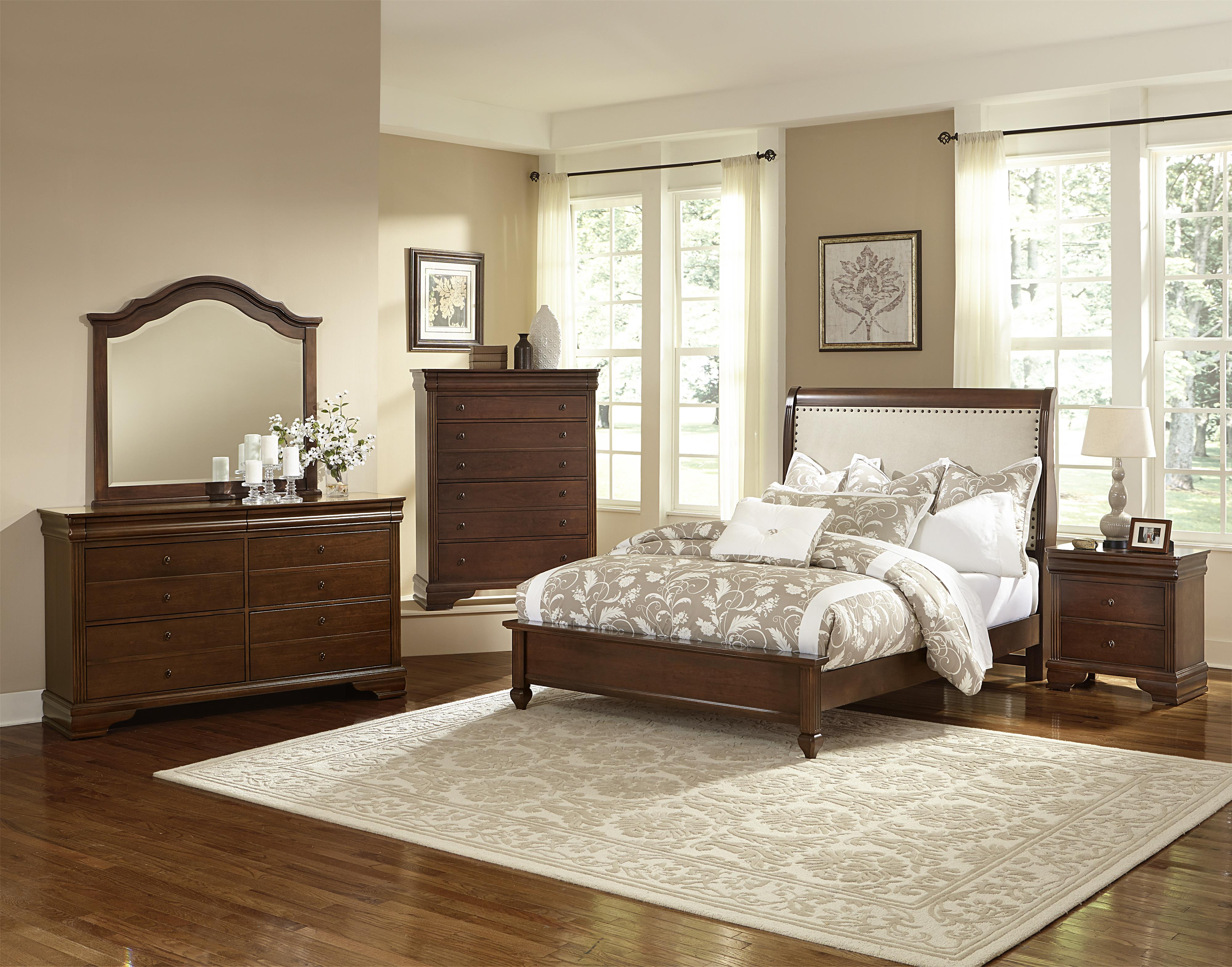 Vaughan Bassett French Market Queen Bed W Upholstered Headboard Low Profile Footboard