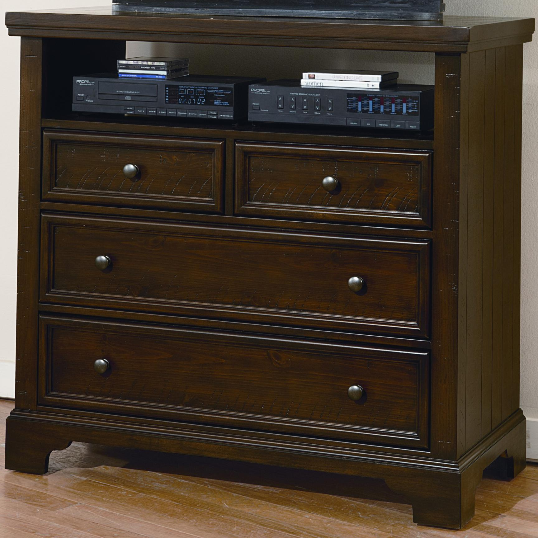 vaughan bassett hanover 4 drawer media chest w wood planking belfort furniture media chests. Black Bedroom Furniture Sets. Home Design Ideas