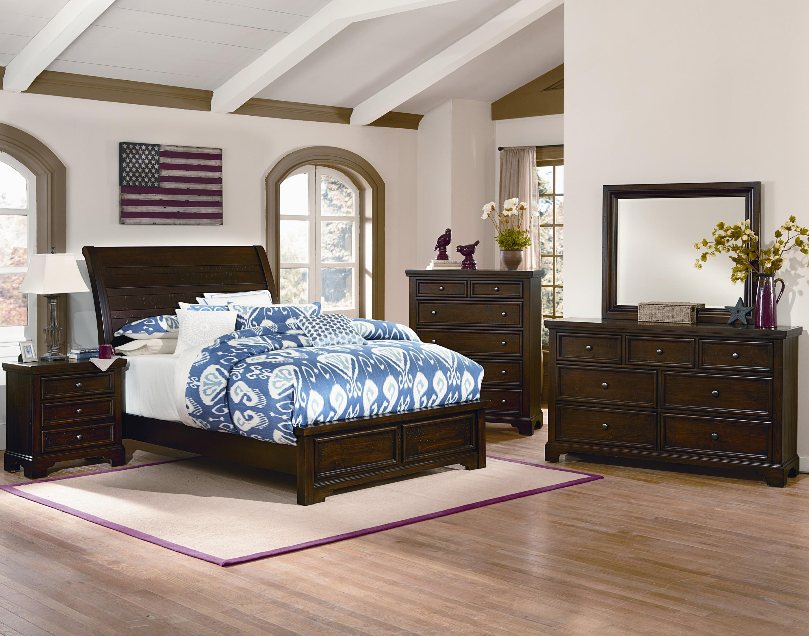 Vaughan Bassett Hanover Queen Sleigh Low Profile Bed W Plank Style Headboard Olinde 39 S