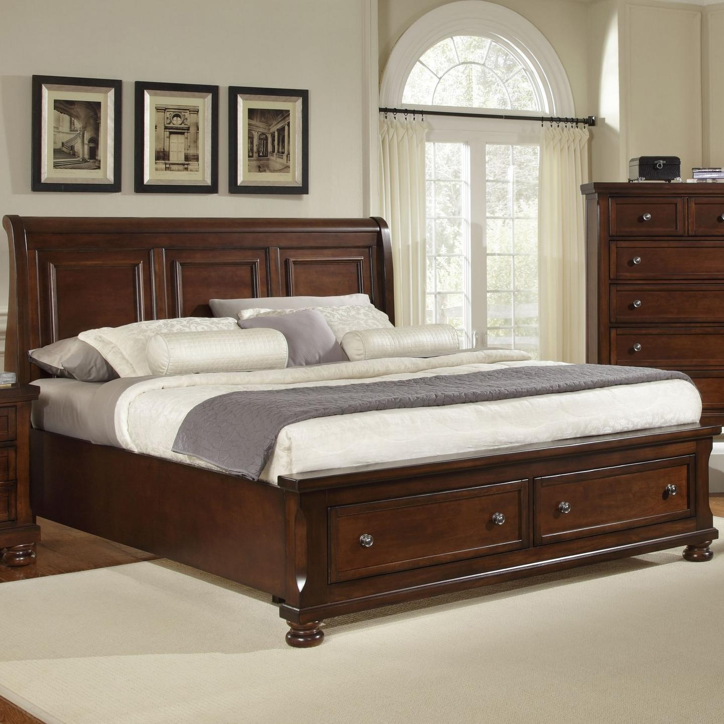 Vaughan bassett reflections king storage bed with sleigh for Bed frame and dresser set