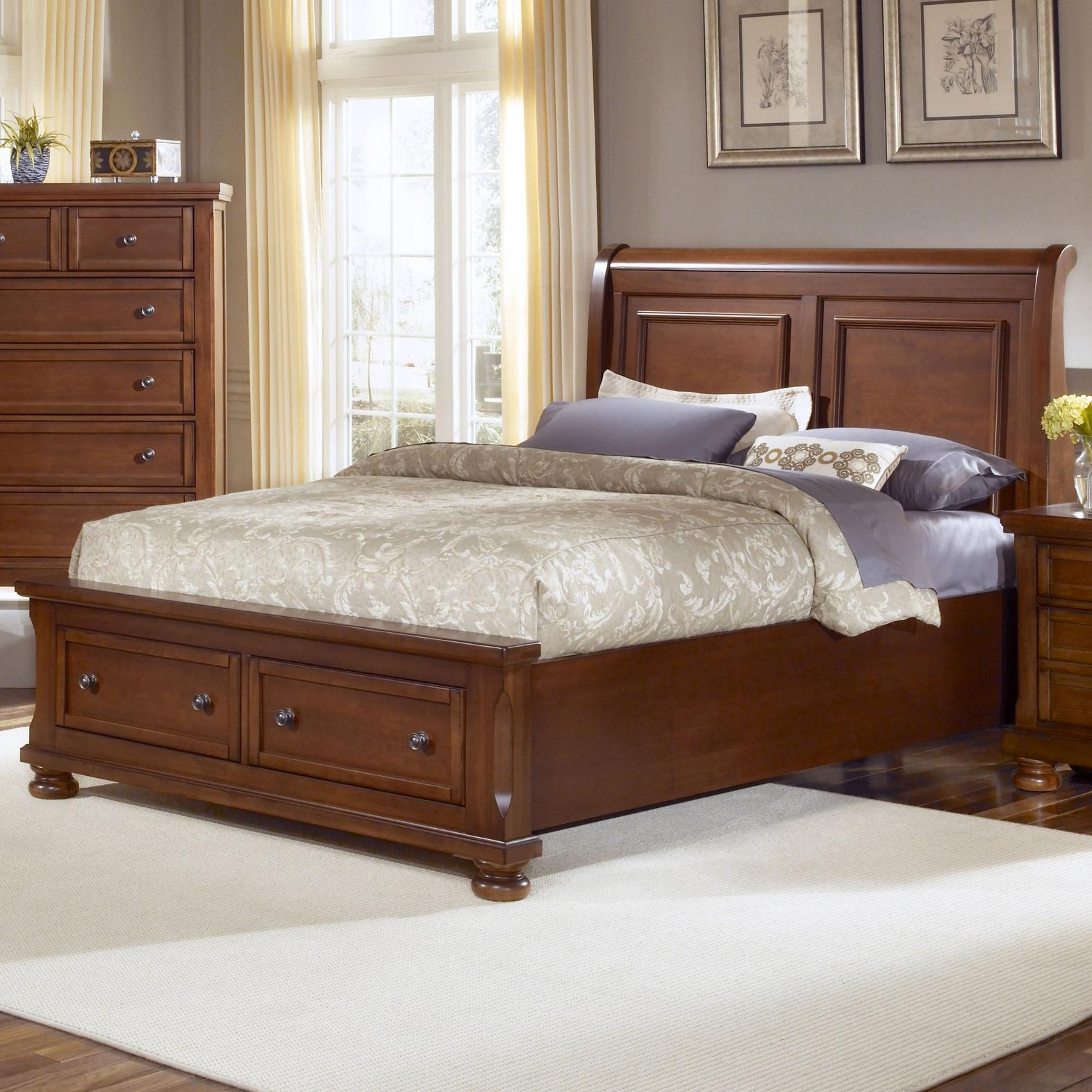 Vaughan bassett reflections king storage bed with sleigh 2 twin beds make a queen