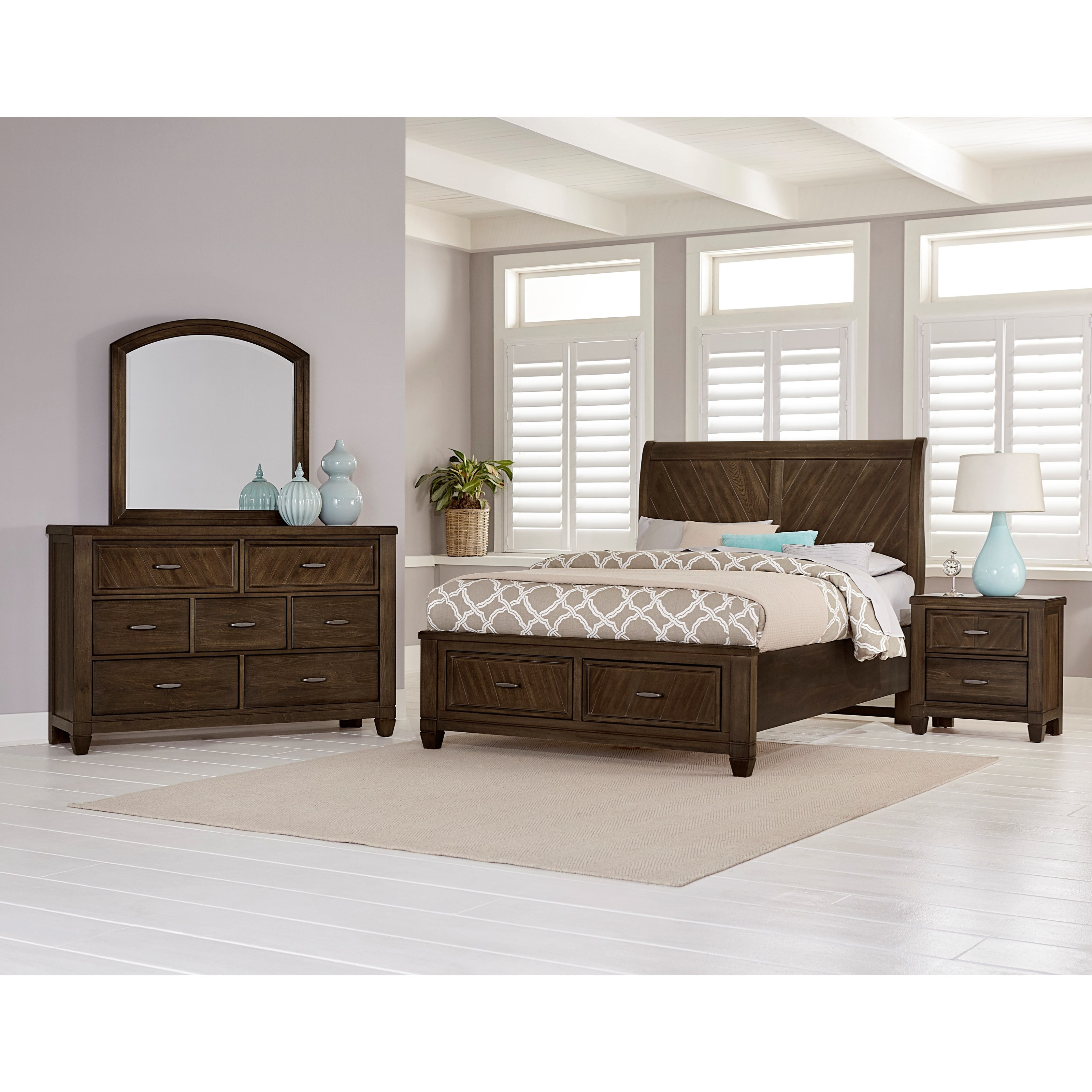 Vaughan bassett rustic cottage king bedroom group value for Bedroom furniture groups