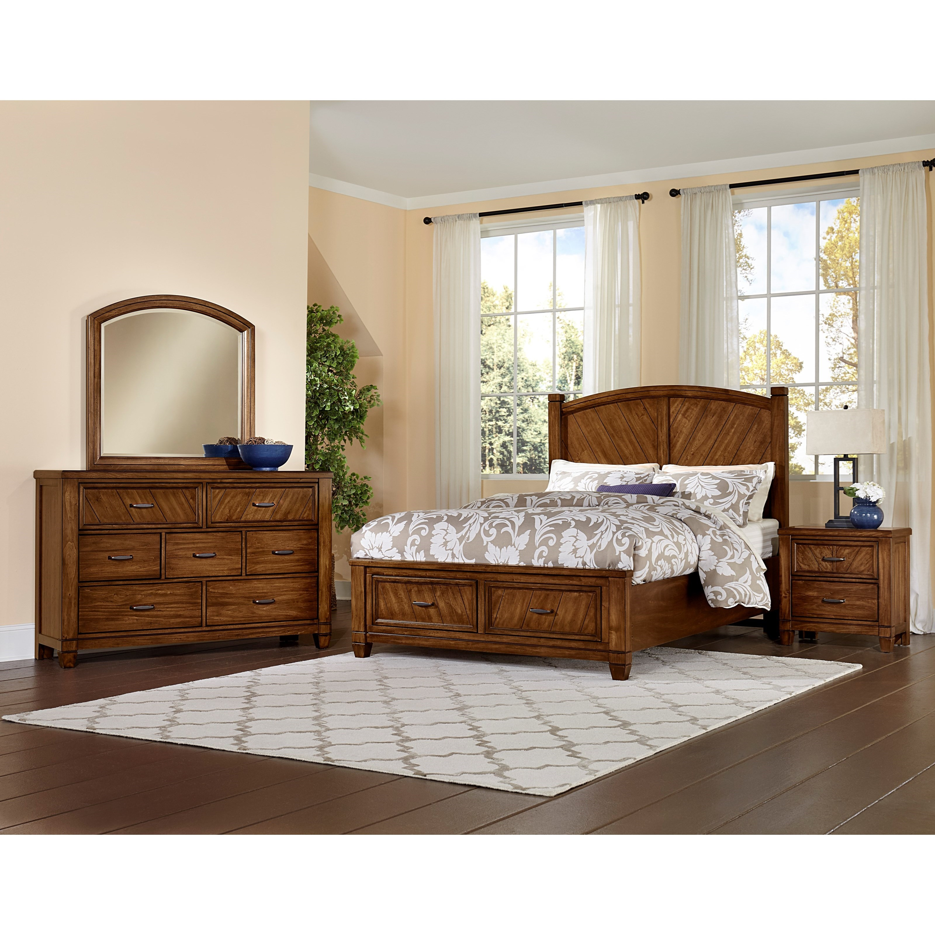 Vaughan bassett rustic cottage queen bedroom group for Rustic cottage bedroom