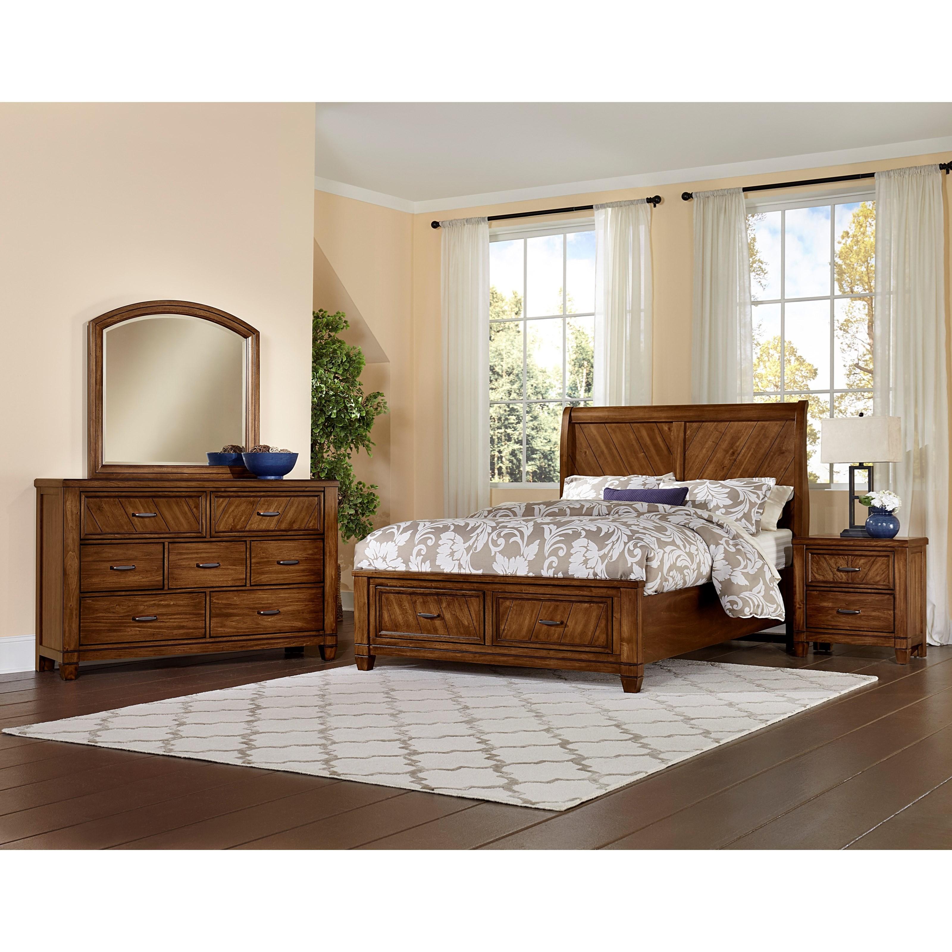 Vaughan bassett rustic cottage queen bedroom group dunk - Bright house bedroom furniture ...