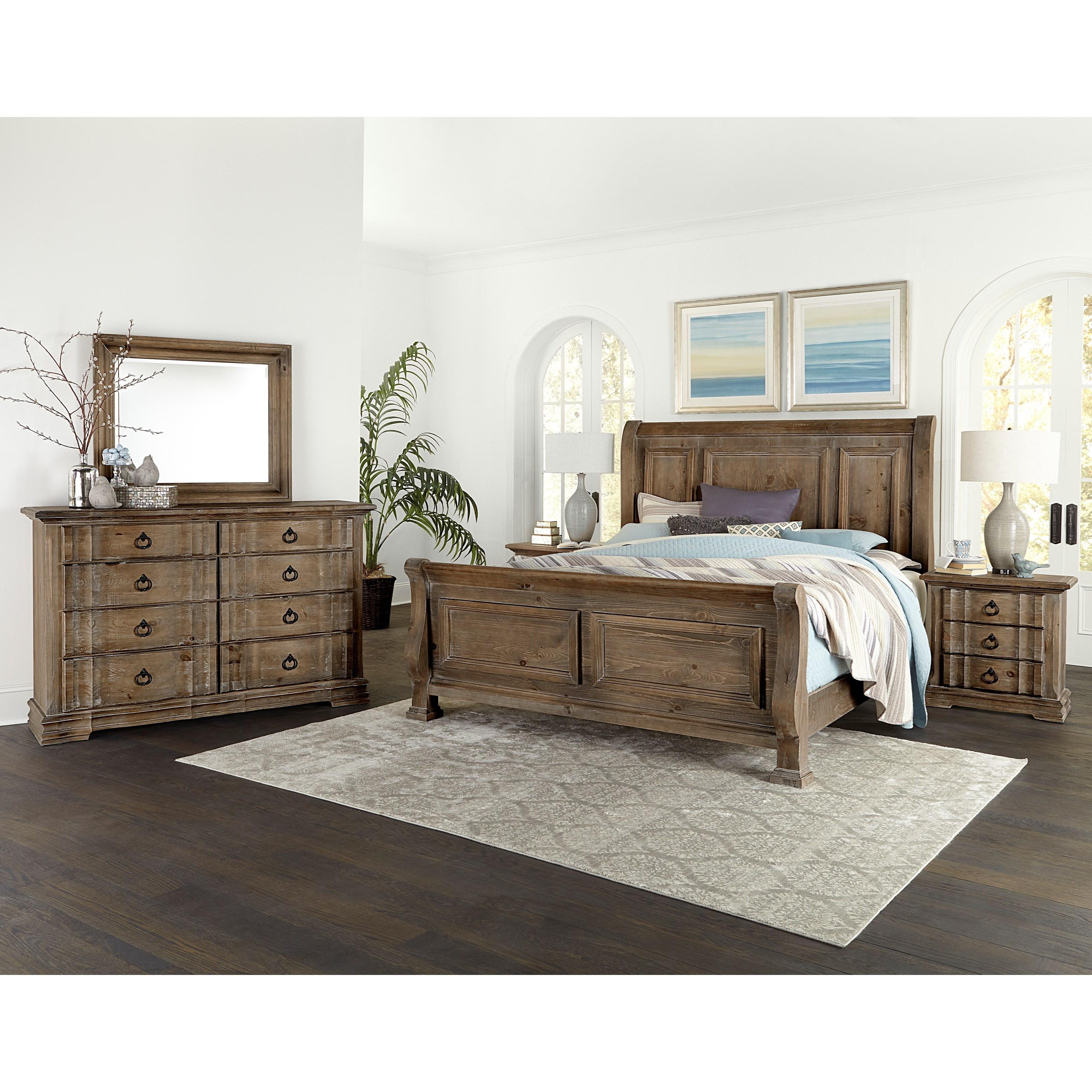 Vaughan Bassett Rustic Hills Cottage Style Queen Sleigh Bed Mueller Furniture Sleigh Beds