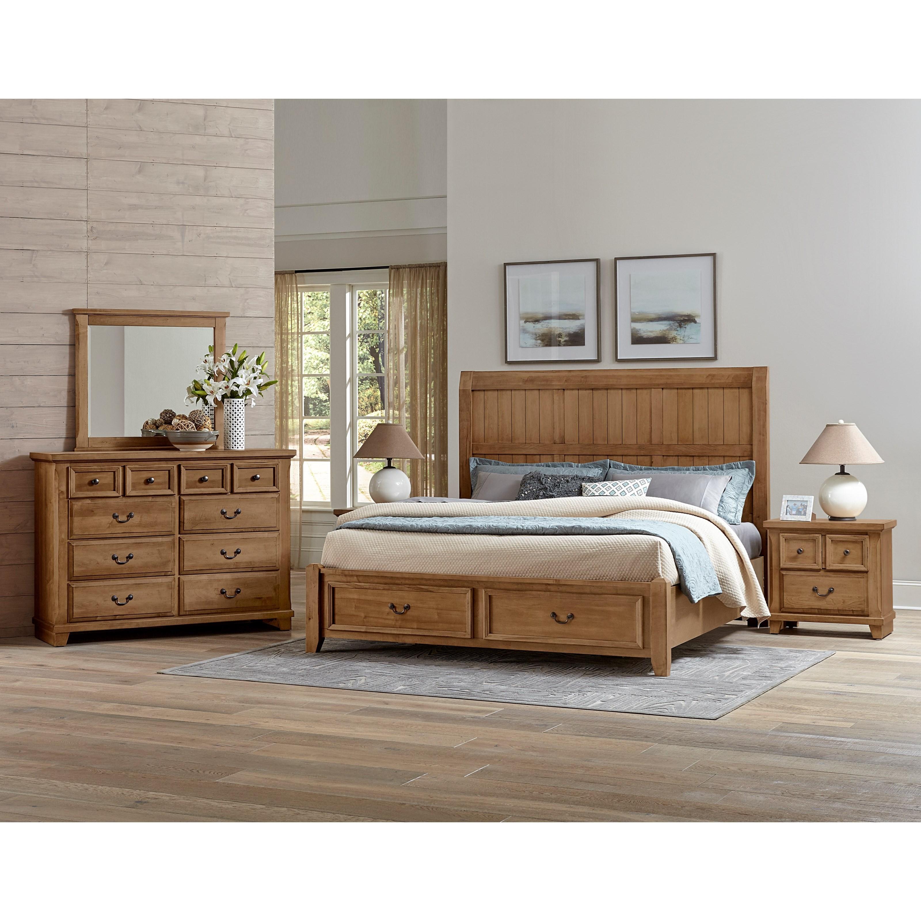 Vaughan bassett timber creek queen bedroom group johnny for Bedroom groups