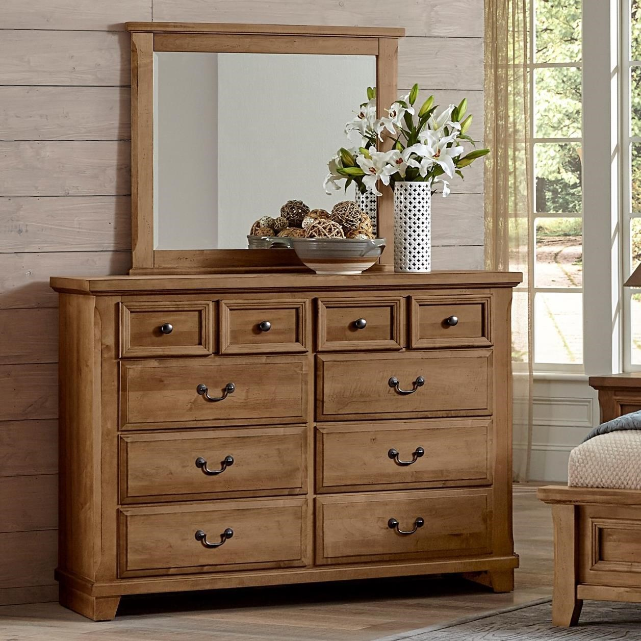 Vaughan Bassett Timber Creek Bureau Landscape Mirror Dunk Bright Furniture Dresser