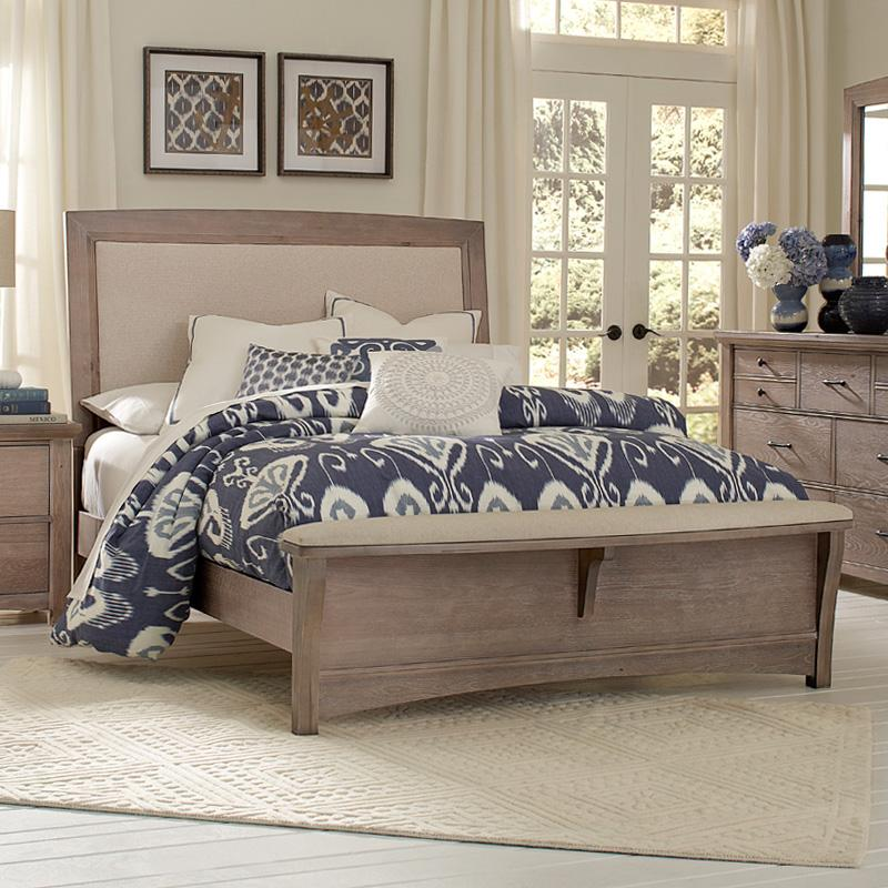 Vaughan Bassett Transitions Queen Upholstered Bed Base Cloth Linen Belfort Furniture