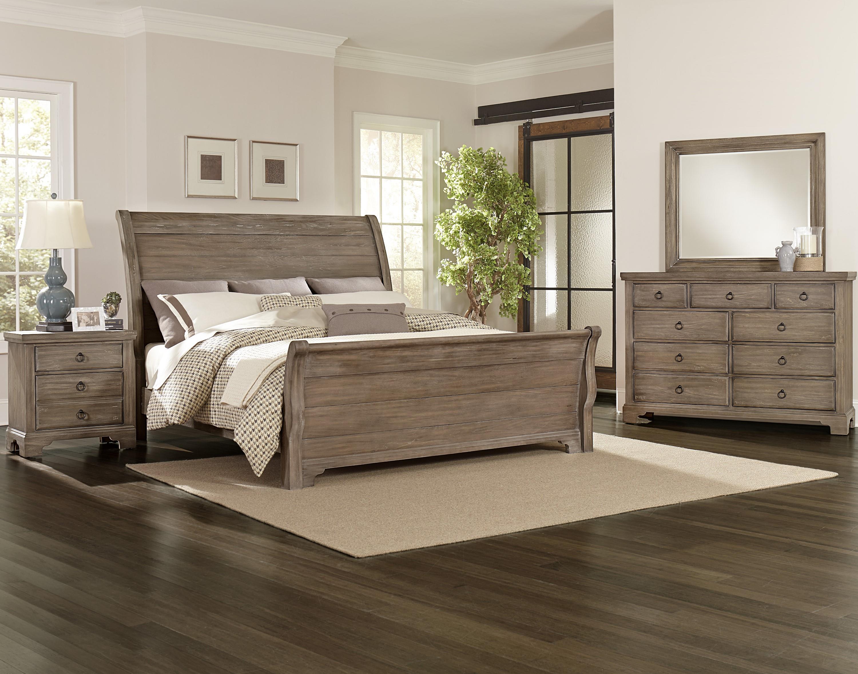 vaughan bassett whiskey barrel distressed king sleigh bed with solid wood planks belfort. Black Bedroom Furniture Sets. Home Design Ideas