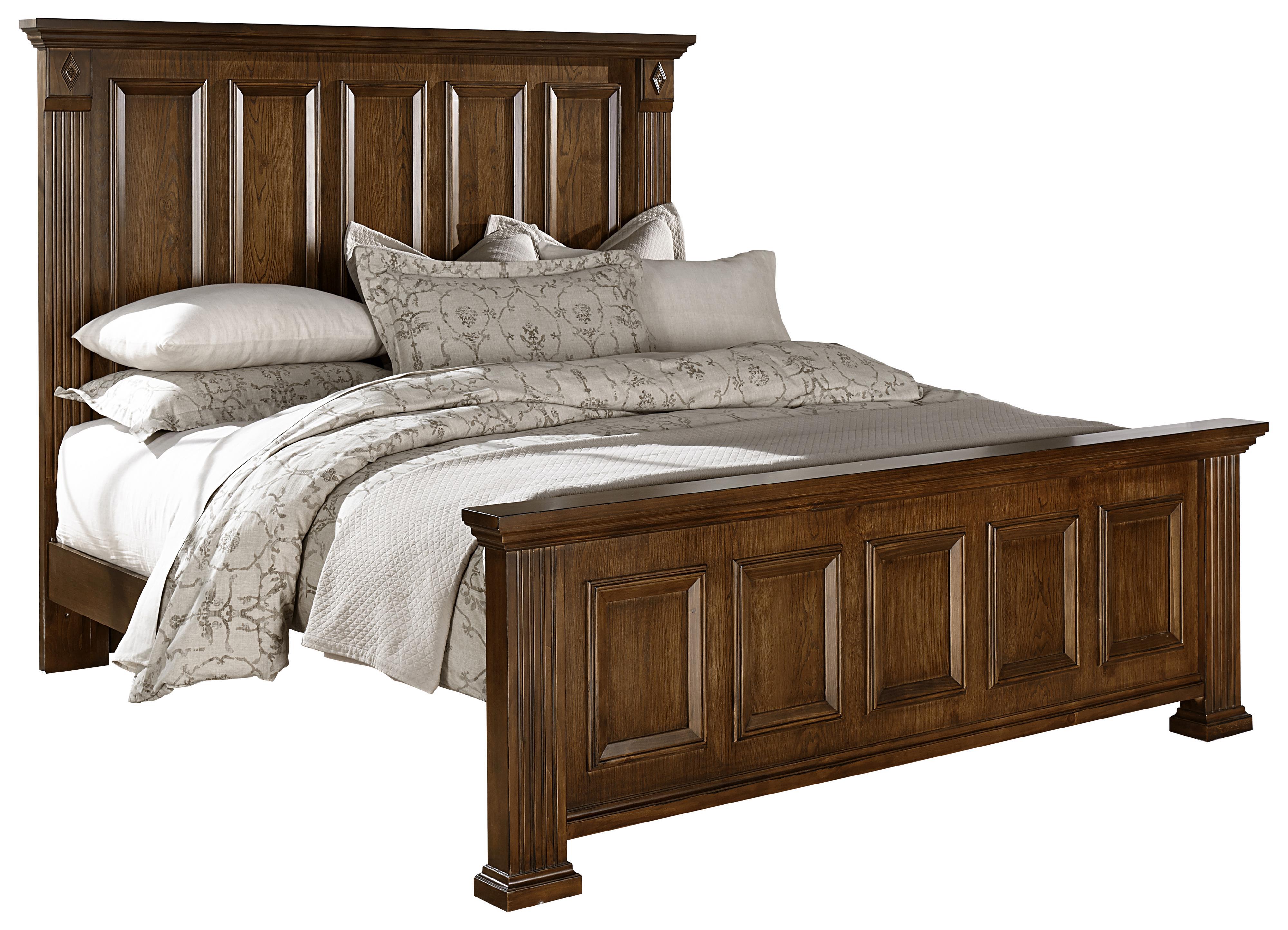 Vaughan bassett woodlands transitional queen mansion bed for Panel bed mattress