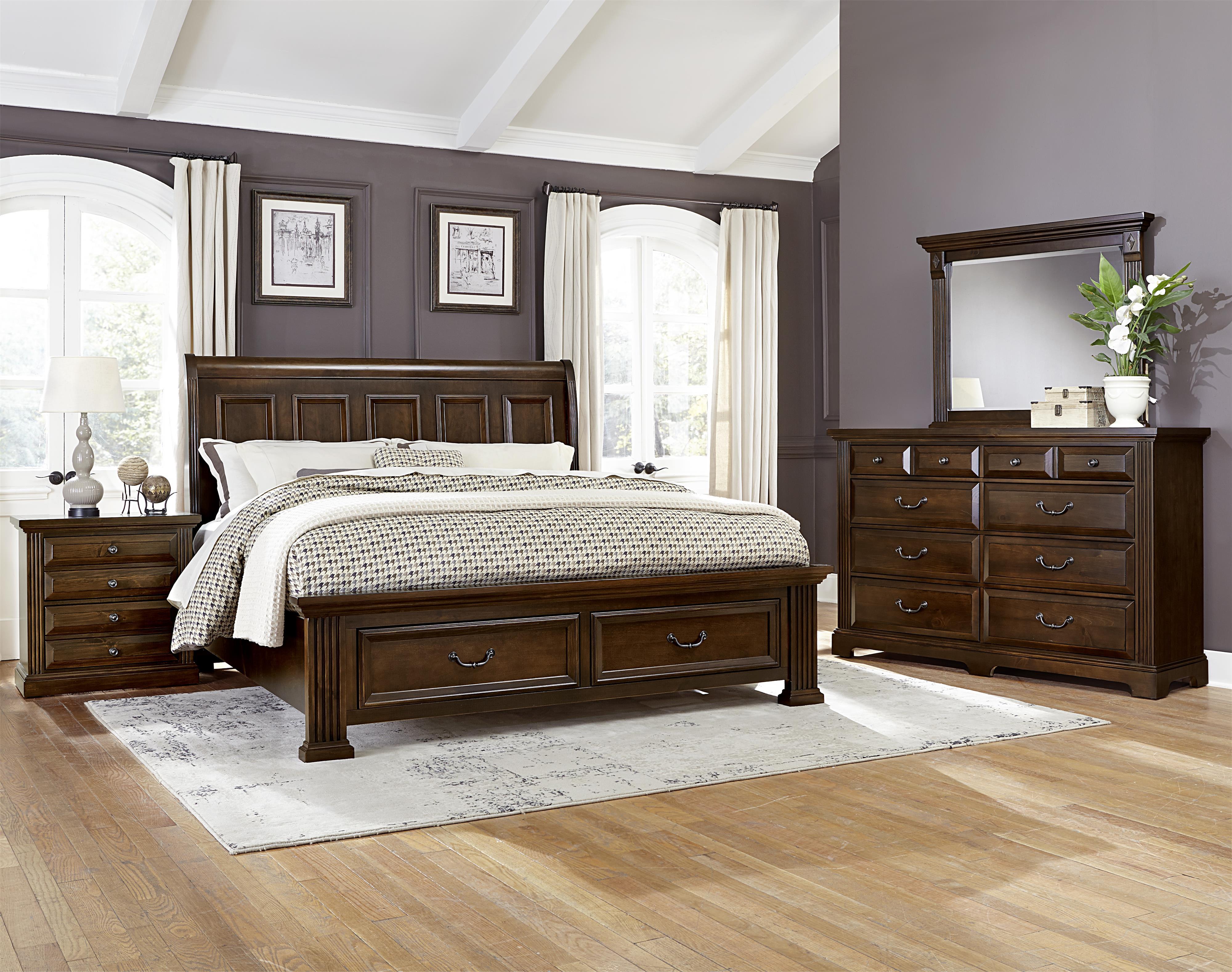 Vaughan bassett woodlands king bedroom group olinde 39 s for Bassett bedroom furniture