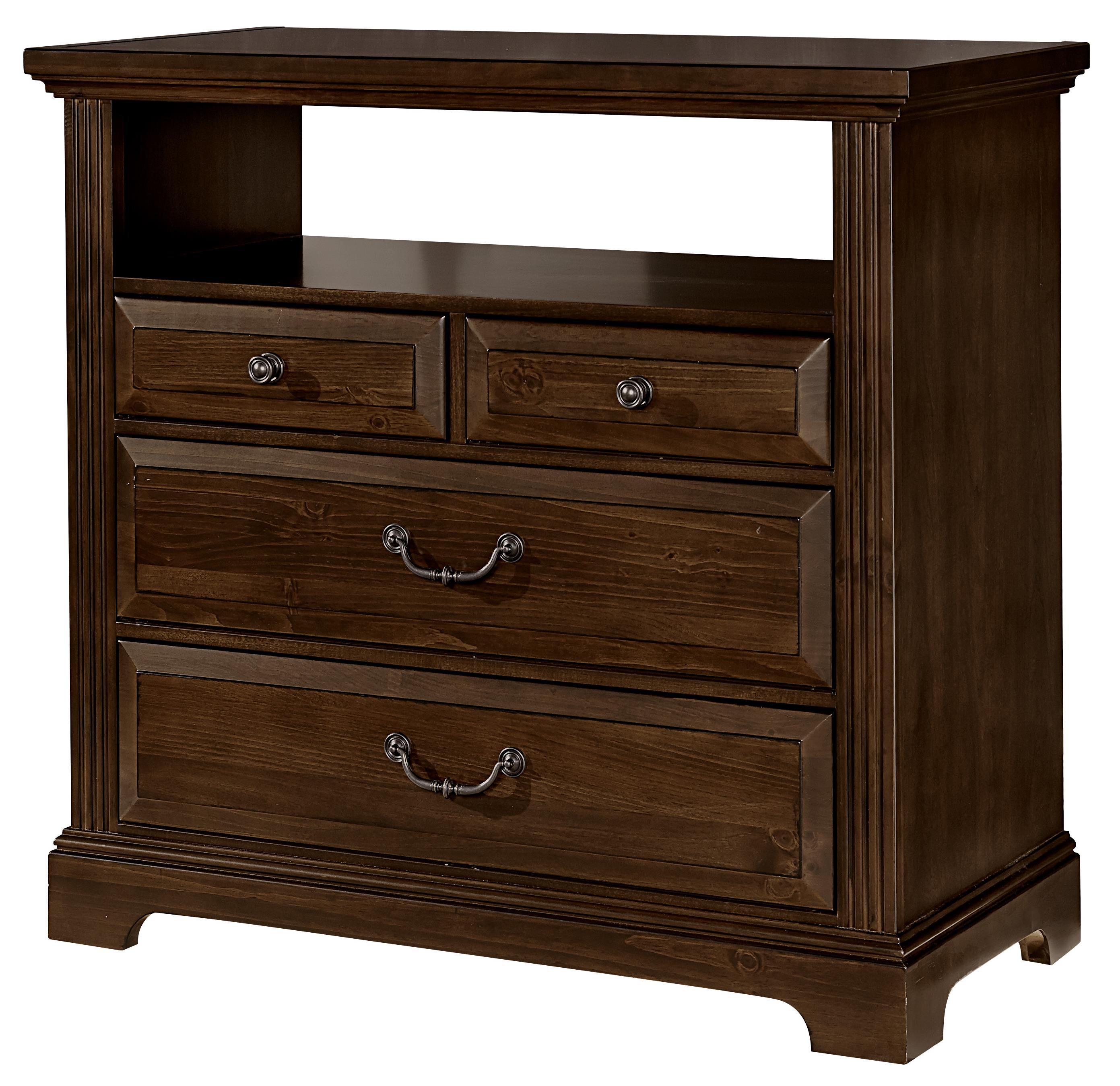 vaughan bassett woodlands transitional media chest 4 drawers belfort furniture media chests. Black Bedroom Furniture Sets. Home Design Ideas