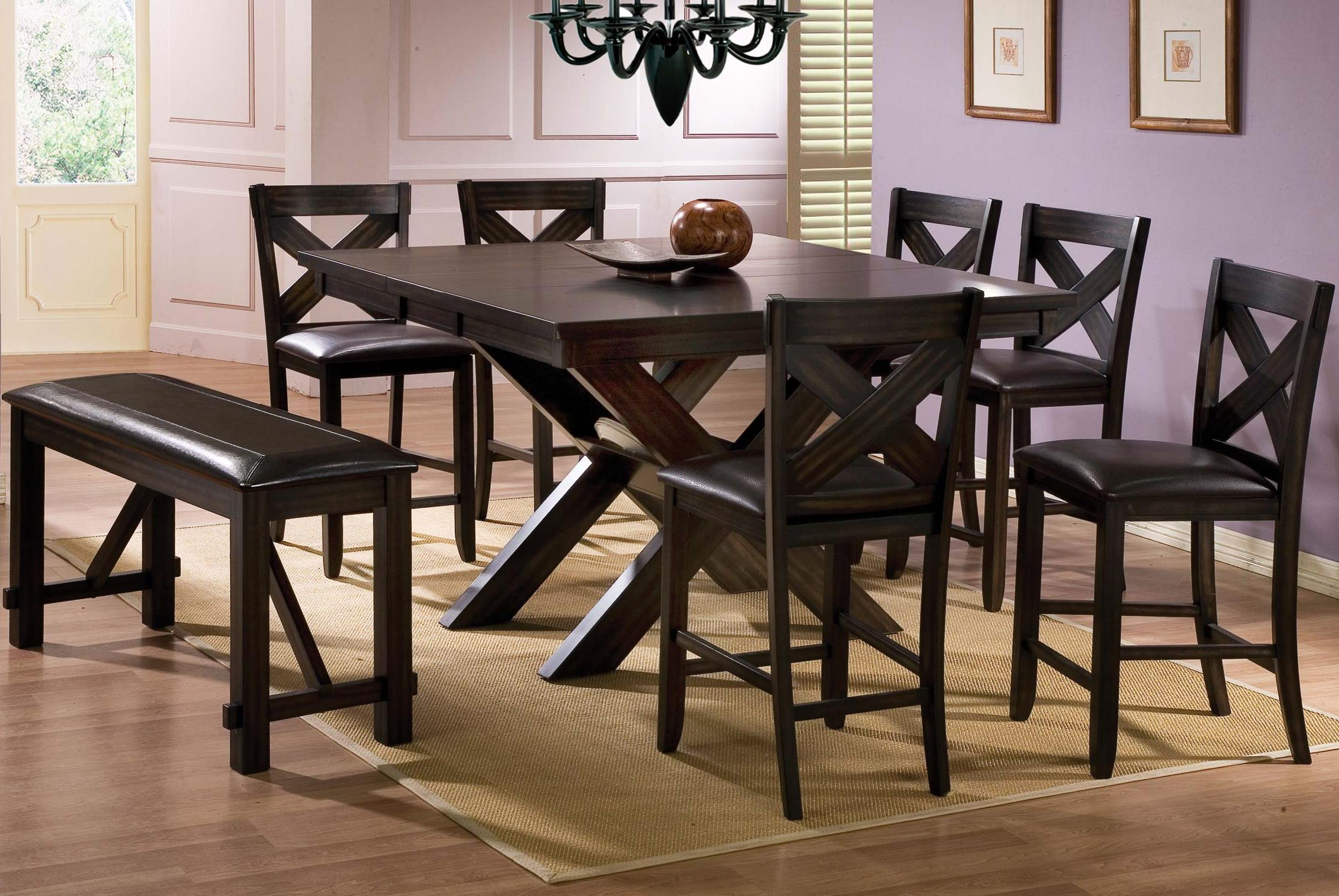 winners only edgewater 8 piece counter height dining set with bench dunk bright furniture. Black Bedroom Furniture Sets. Home Design Ideas