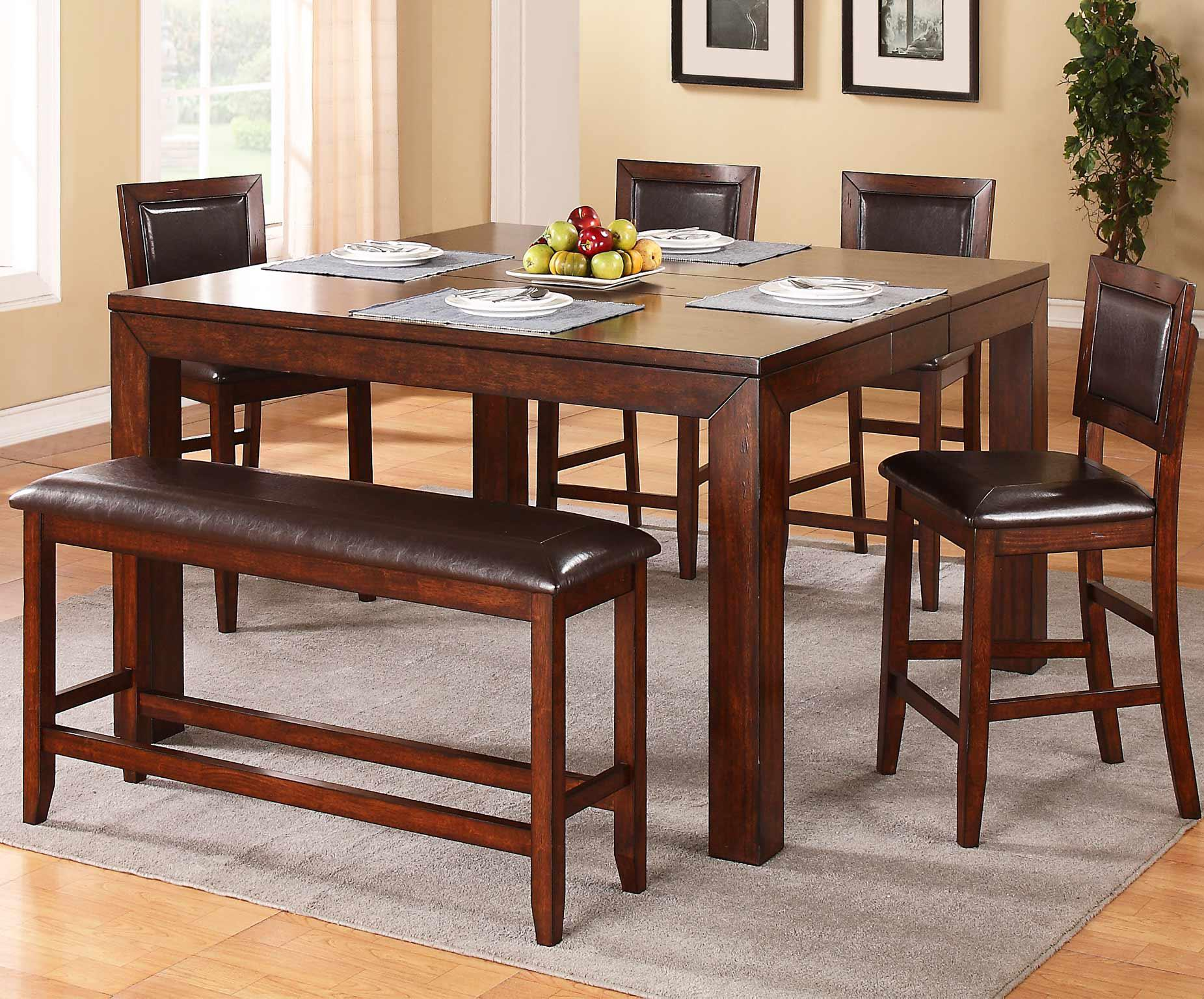 winners only fallbrook 6 piece counter height dining set with bench fashion furniture pub. Black Bedroom Furniture Sets. Home Design Ideas