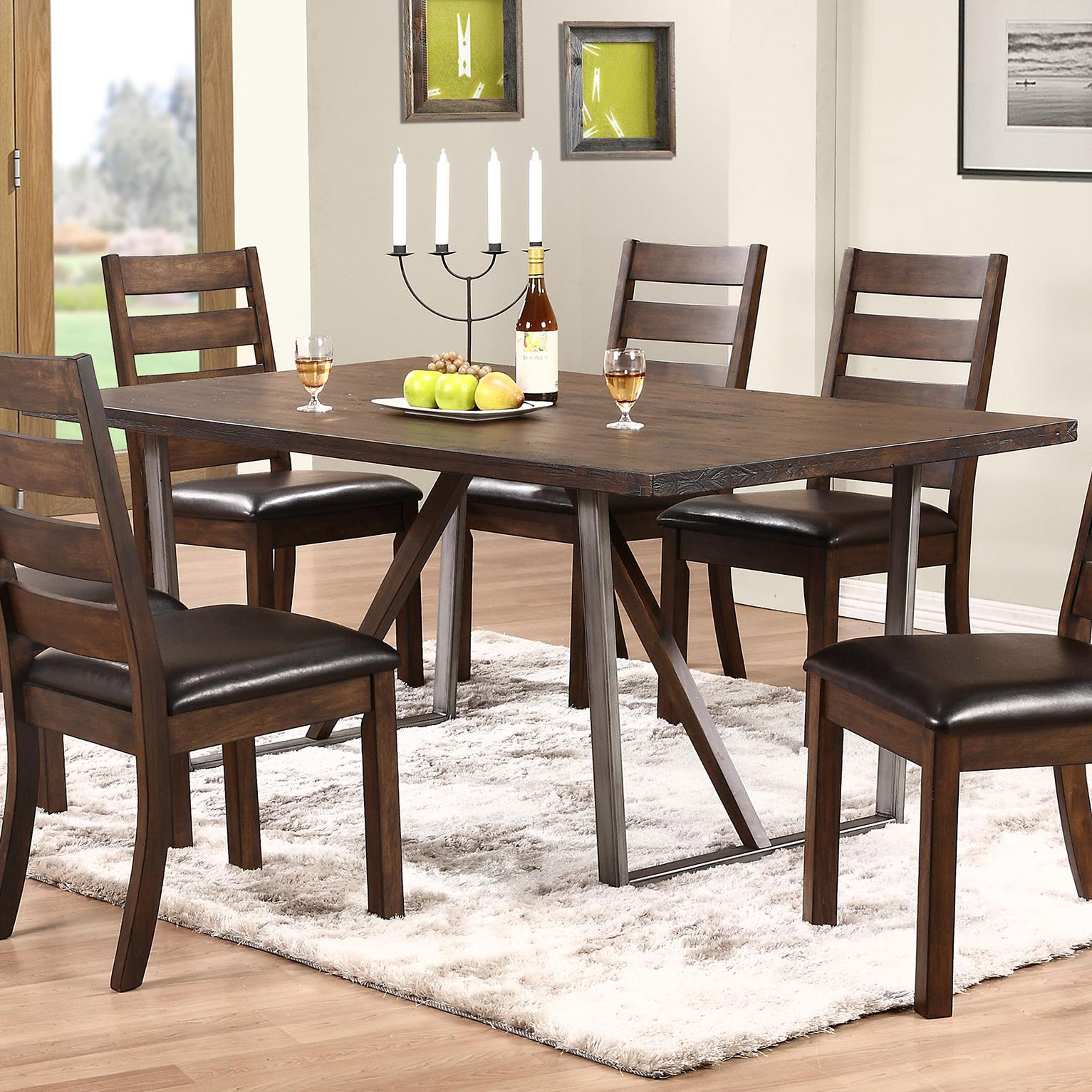 Winners only kendall dk24072 trestle table with metal base for Dining room table only