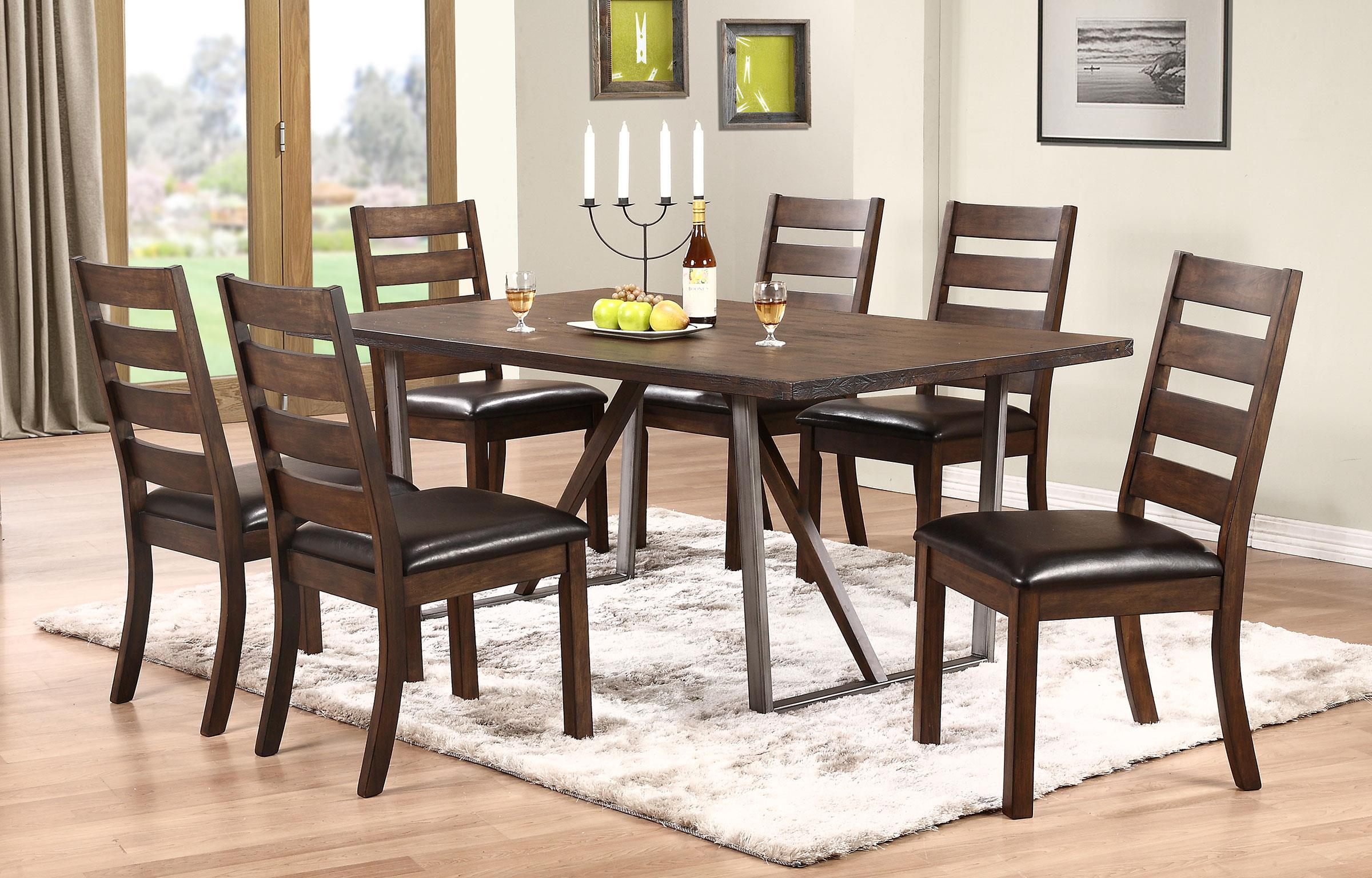 winners only kendall trestle table with metal base mueller furniture dining room table. Black Bedroom Furniture Sets. Home Design Ideas