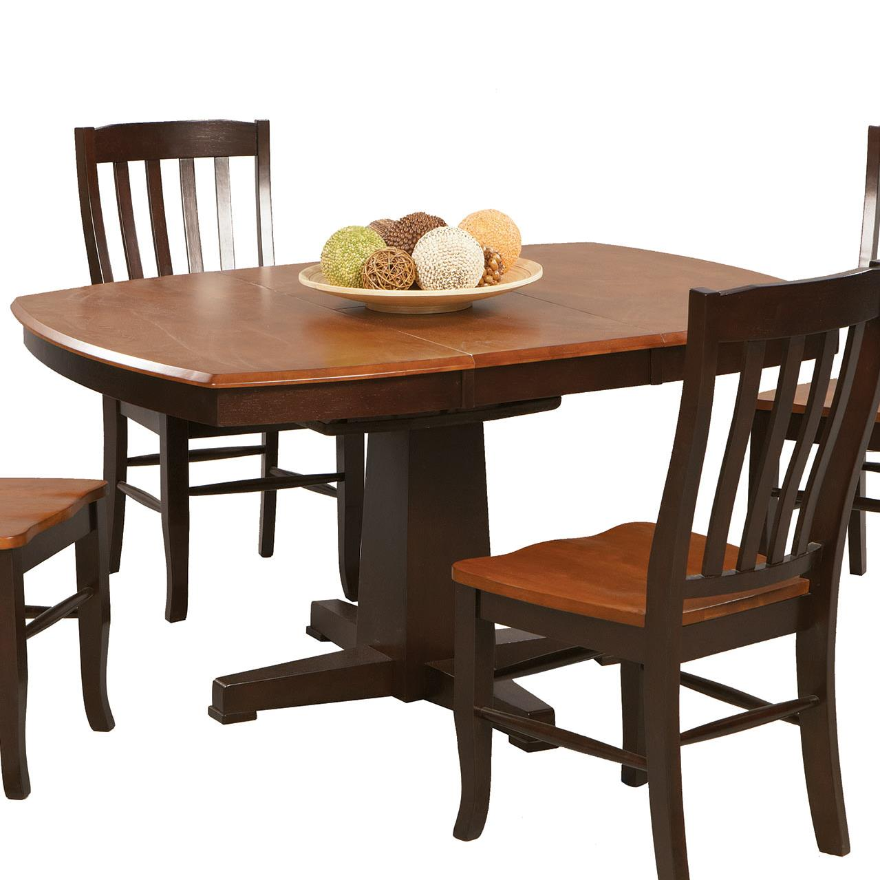 Winners only santa fe chestnut espresso single pedestal for Dining table only