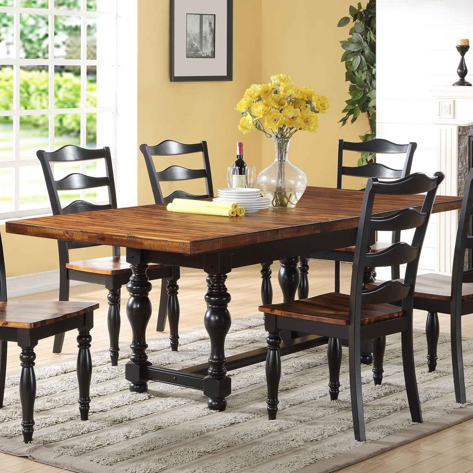 Winners only weston 86 trestle table with 18 leaf for Dining table only