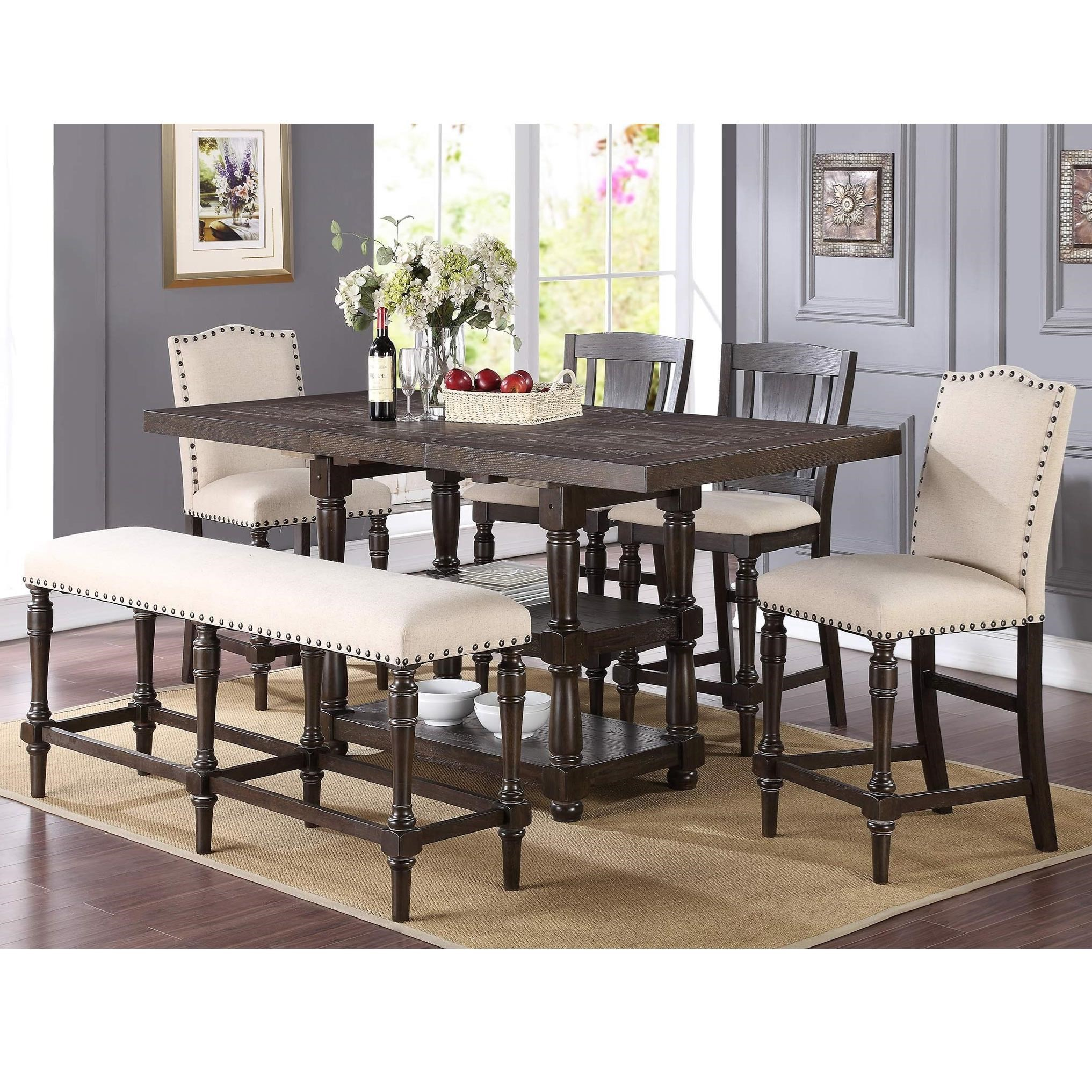 winners only xcalibur counter height dining set with upholstered bench fashion furniture pub. Black Bedroom Furniture Sets. Home Design Ideas