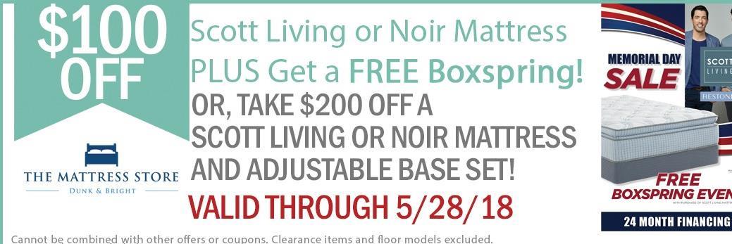Take $100 Off Scott Living or Noir Mattresses!