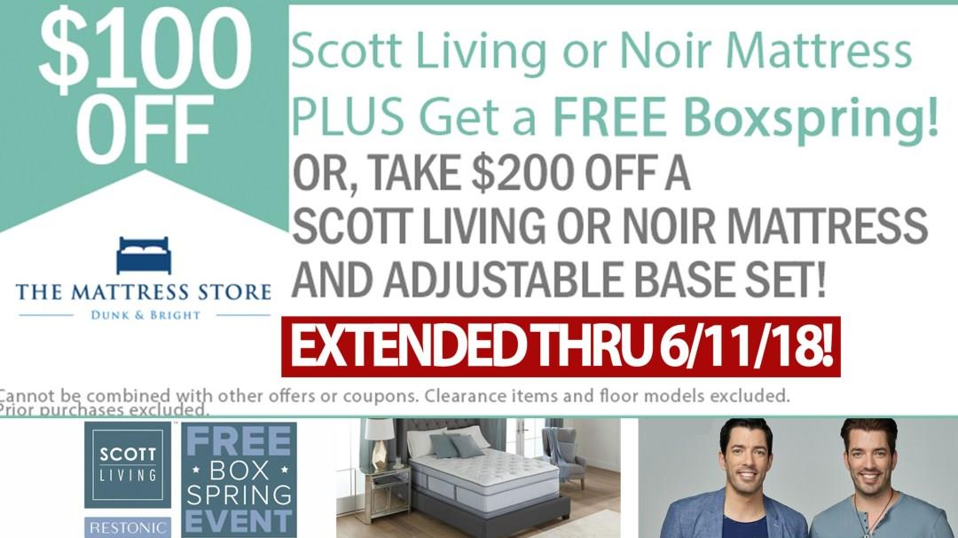 Take $100 Off Scott Living or Noir Mattresses!