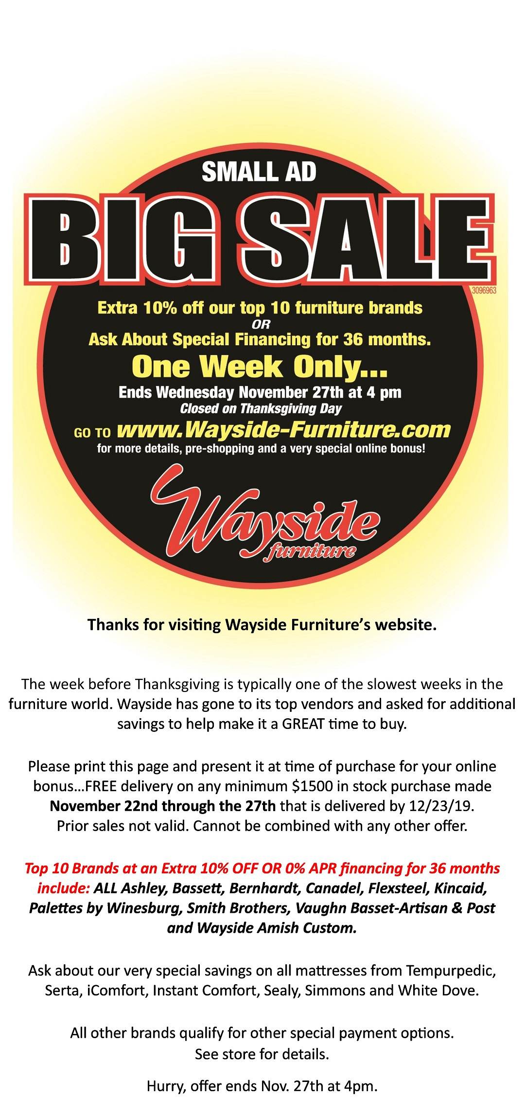 Small Ad Big Sale Wayside Furniture Akron Cleveland Canton Medina Youngstown Ohio